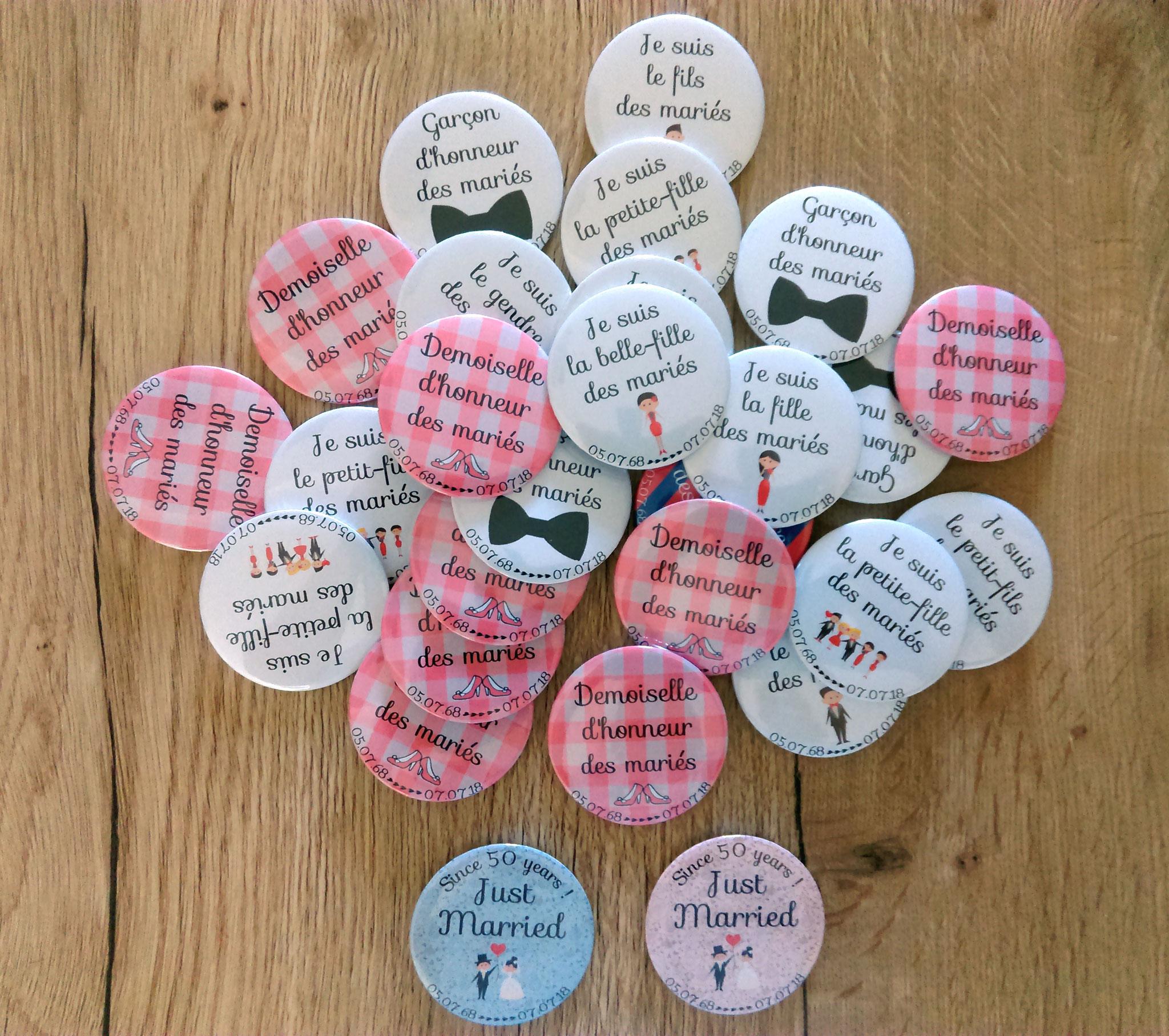 badges mariage