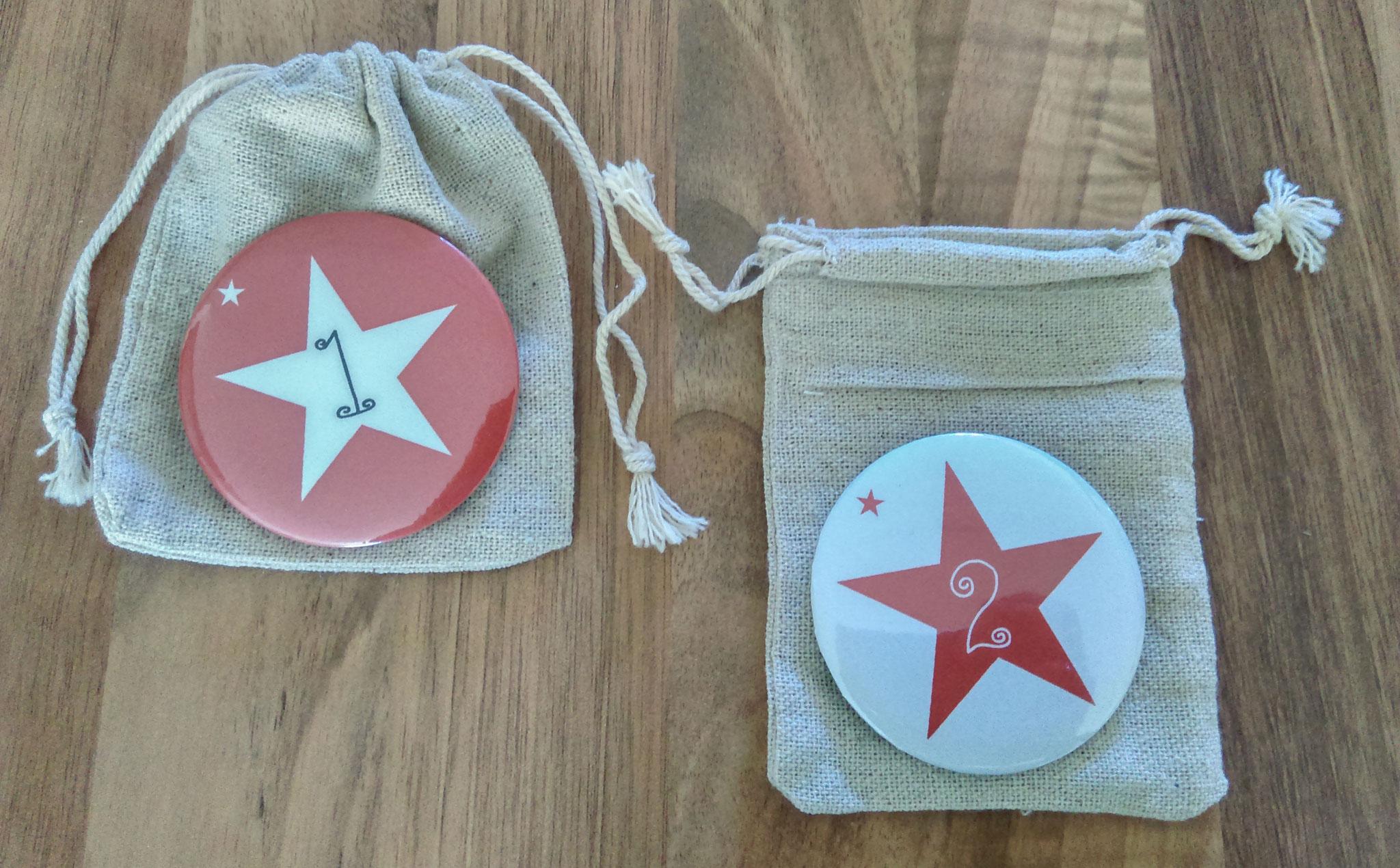 """Calendrier de l'avent version """"badge"""" rouge"""