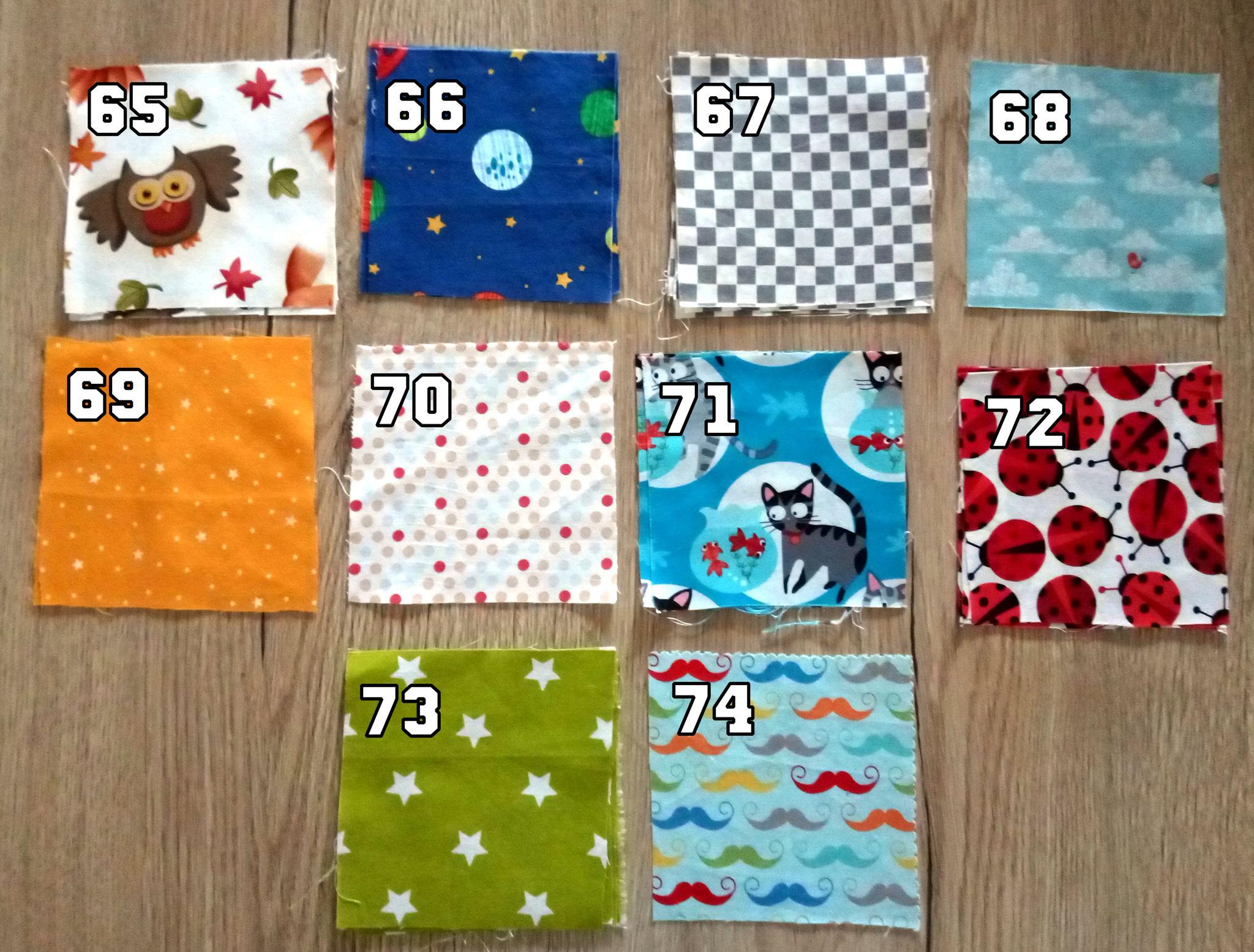 références tissus disponibles 65 à 74