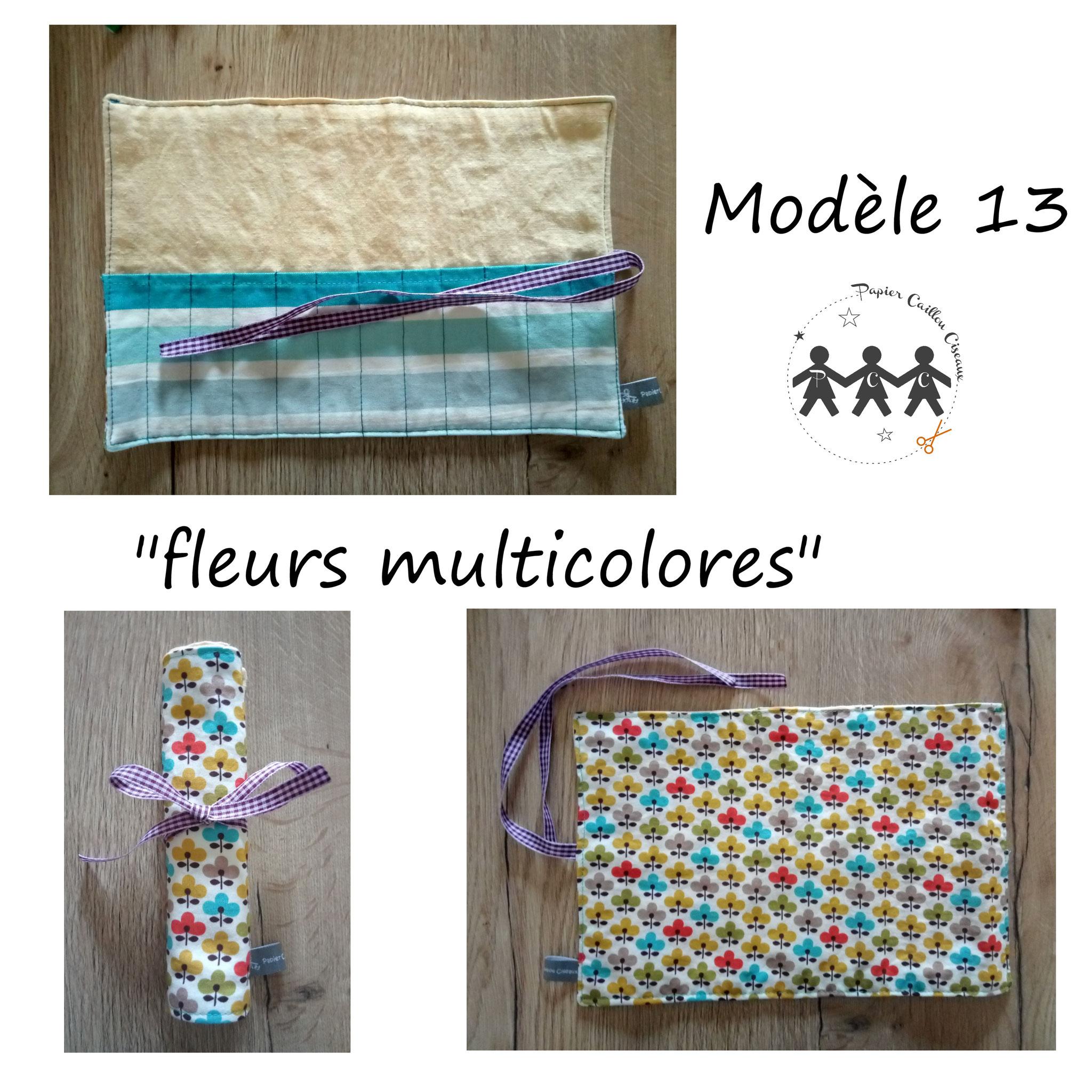 """pochette à crayons """"fleurs multicolores"""""""