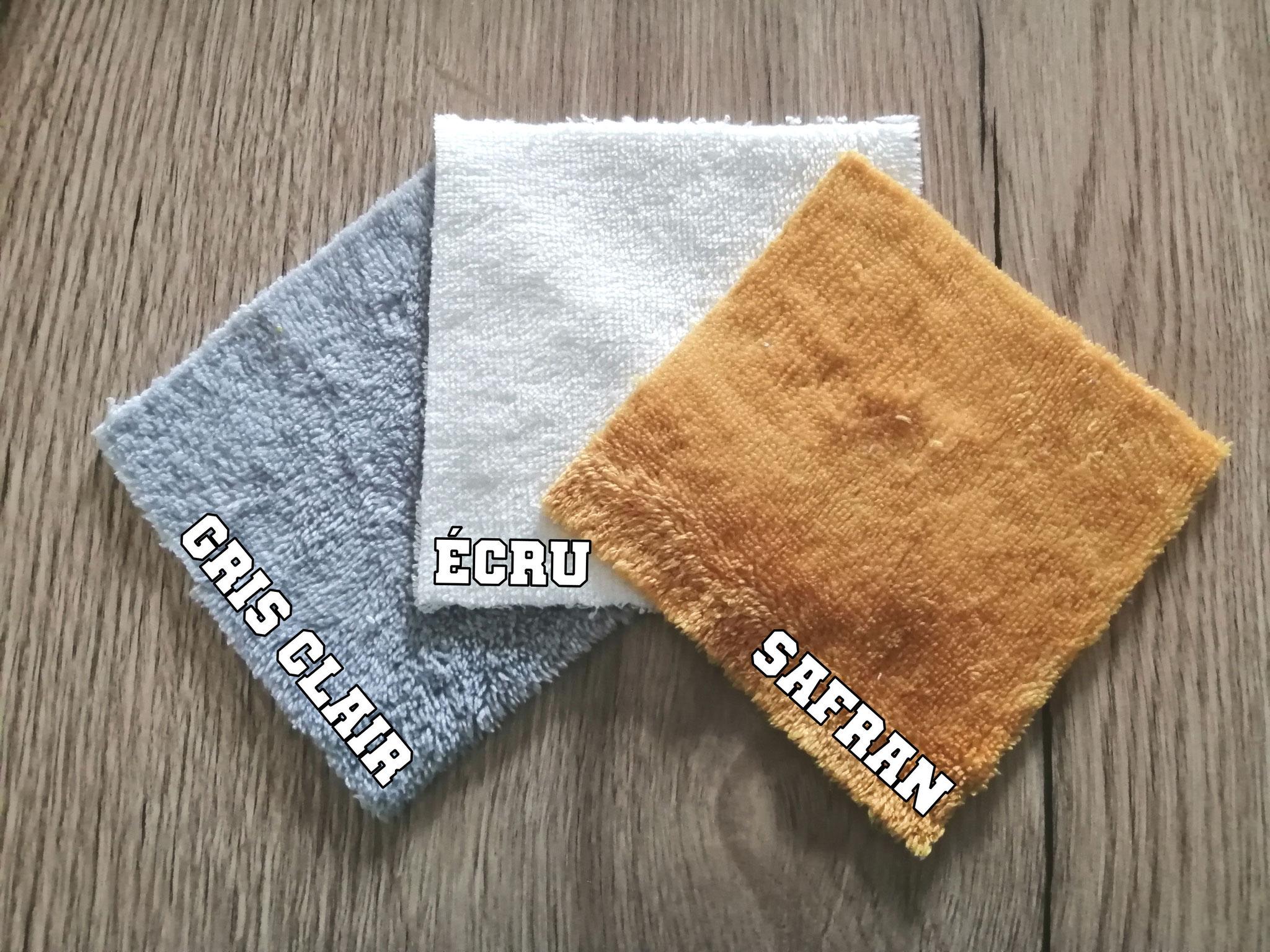 """4 coloris """"éponge de fibre de bambou""""  (gris/écru/safran/blanc)"""