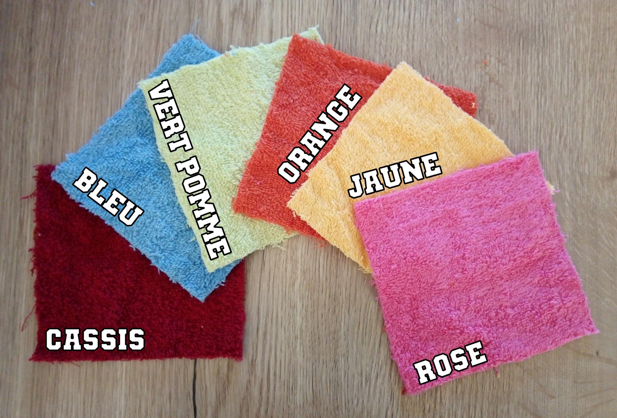 """3 coloris """"éponge coton"""" (rose/jaune/cassis non disponibles)"""