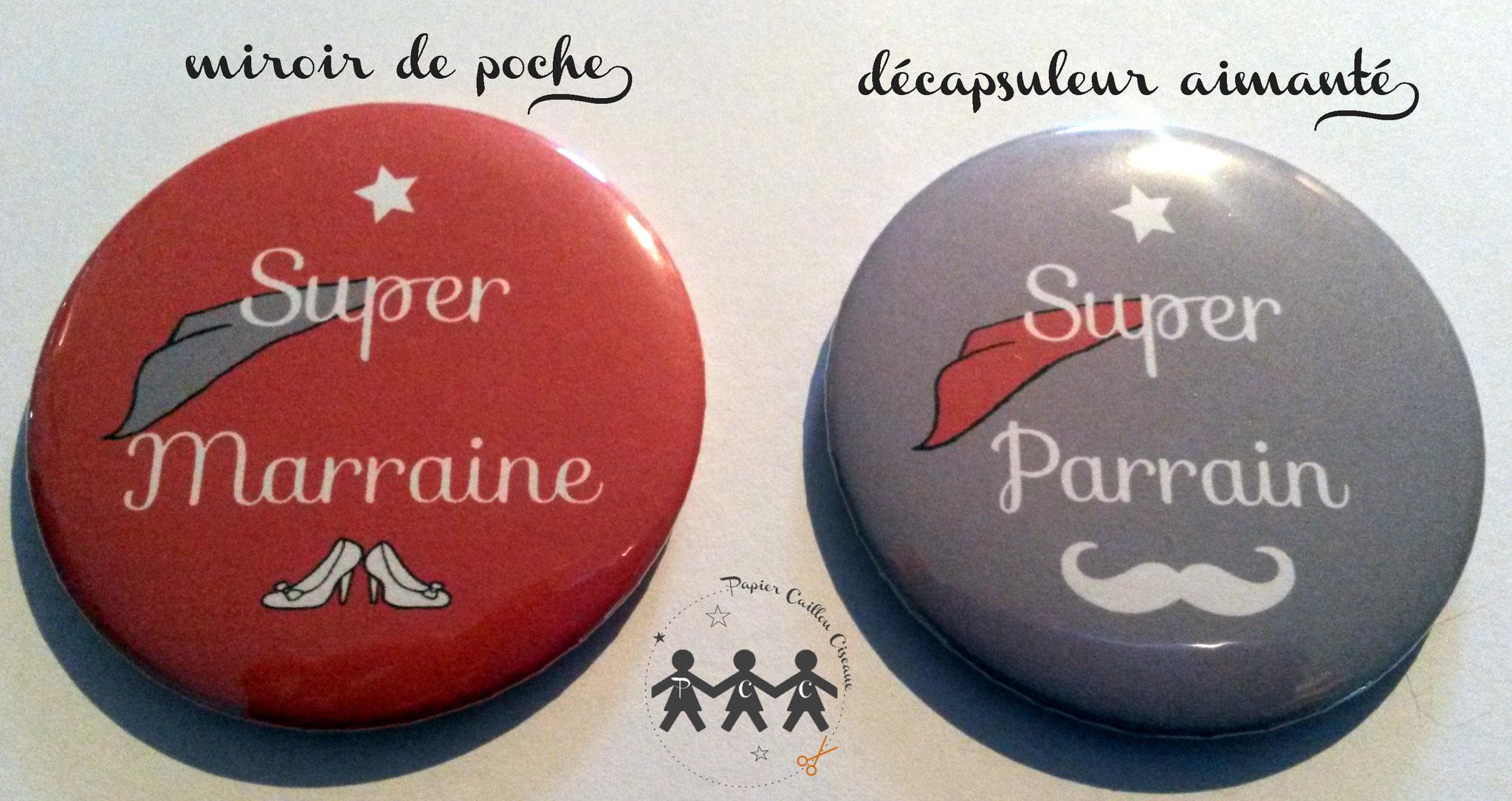 Duo de cadeaux parrain marraine -Rouge & Gris-
