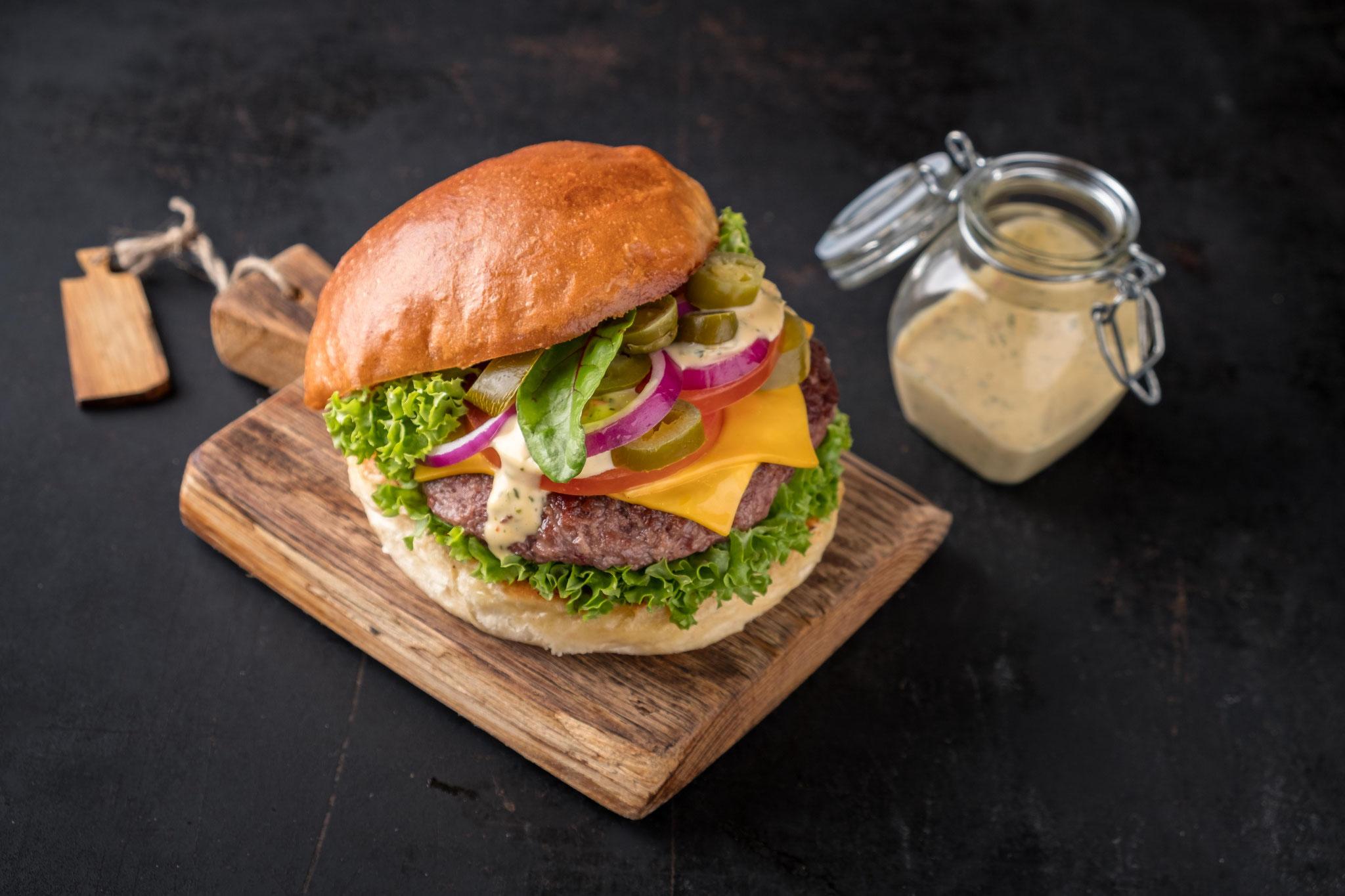 Food-Fotografie Burger 45° Grad Ansicht!