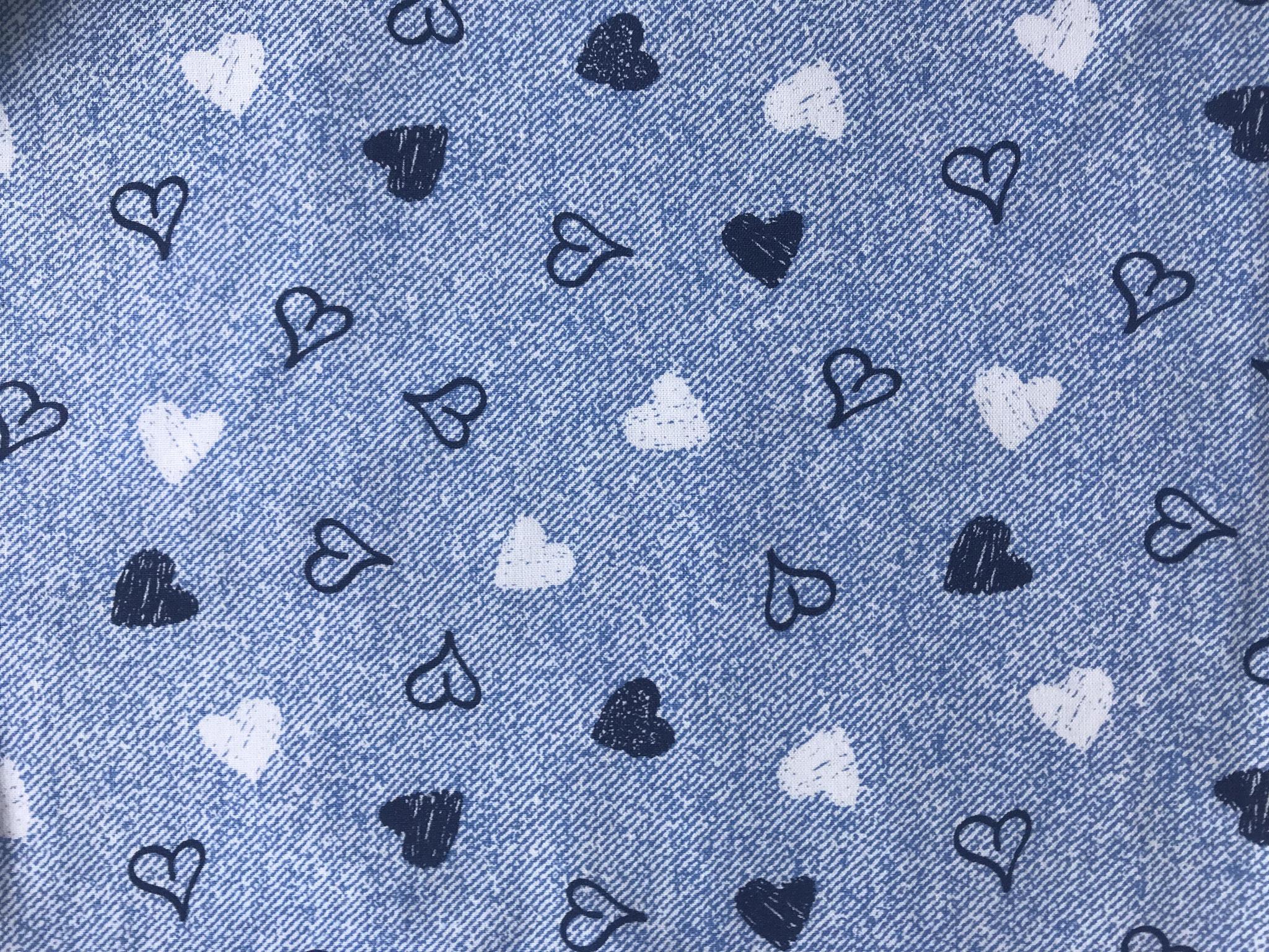 Herzen blau auf jeansoptik