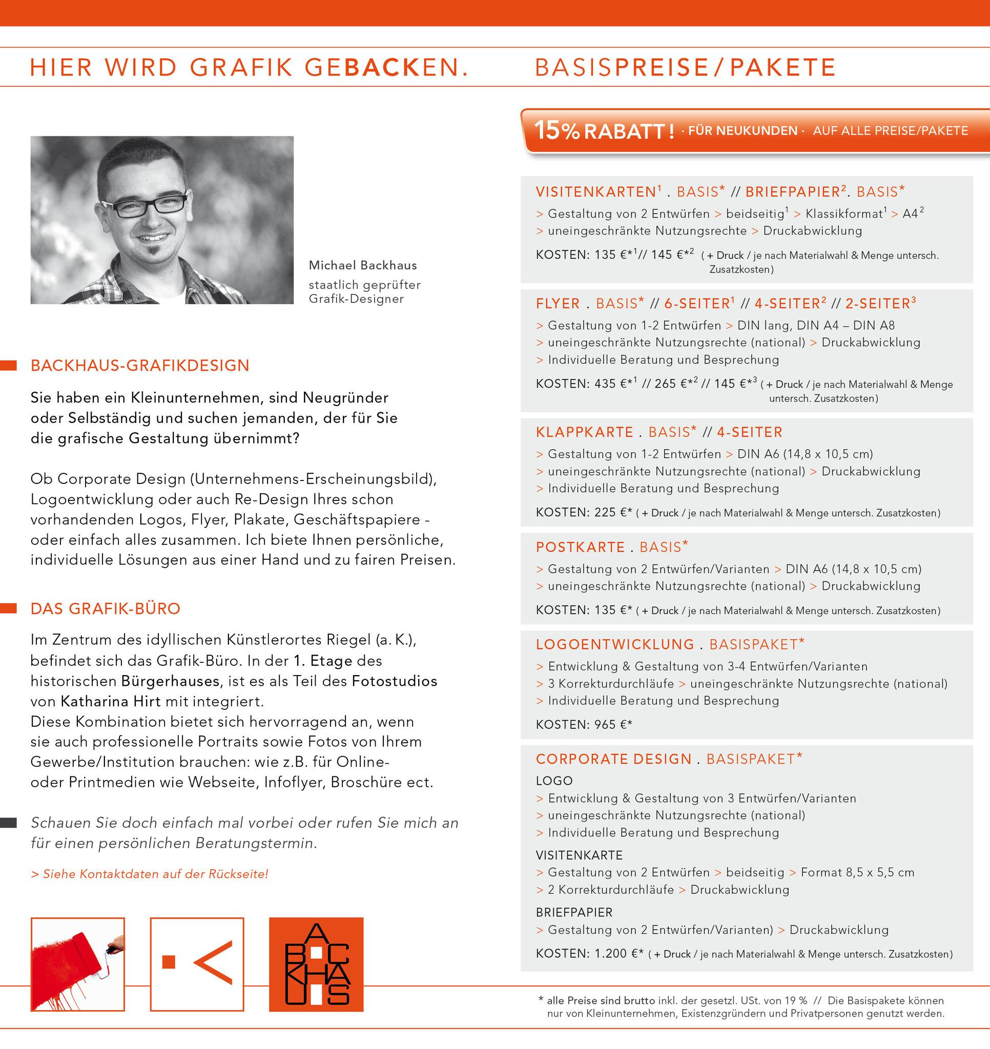 INFOFLYER . PREISE - backhaus-grafikdesign