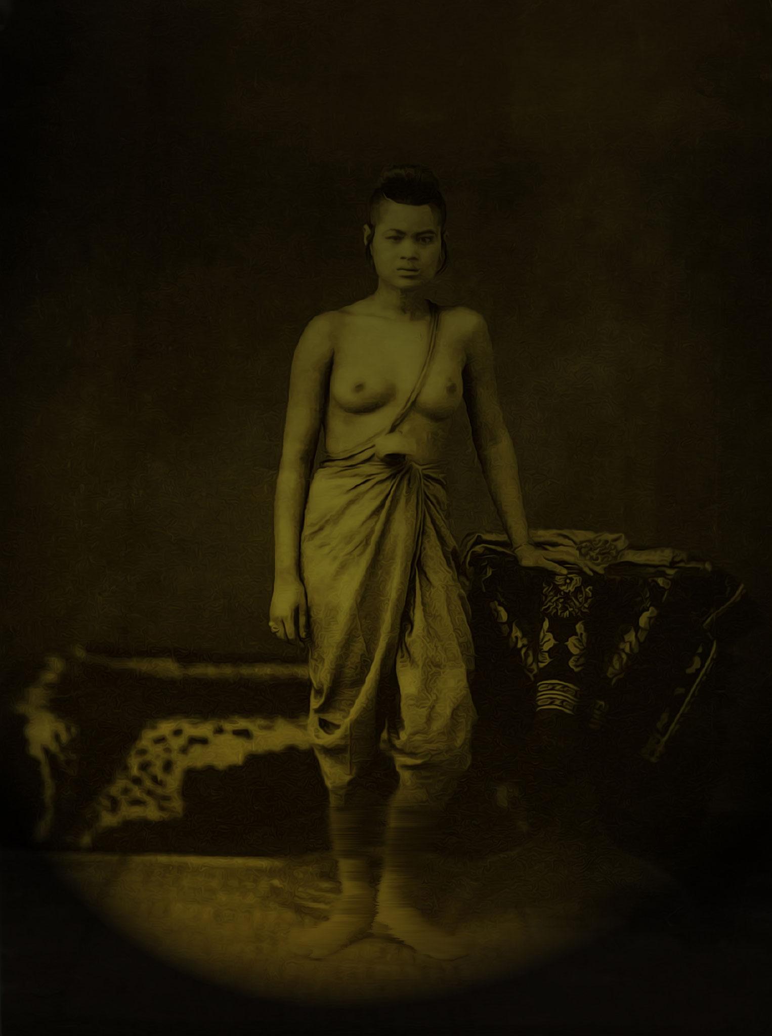 Portrait of the famous Siam Warrior half nude