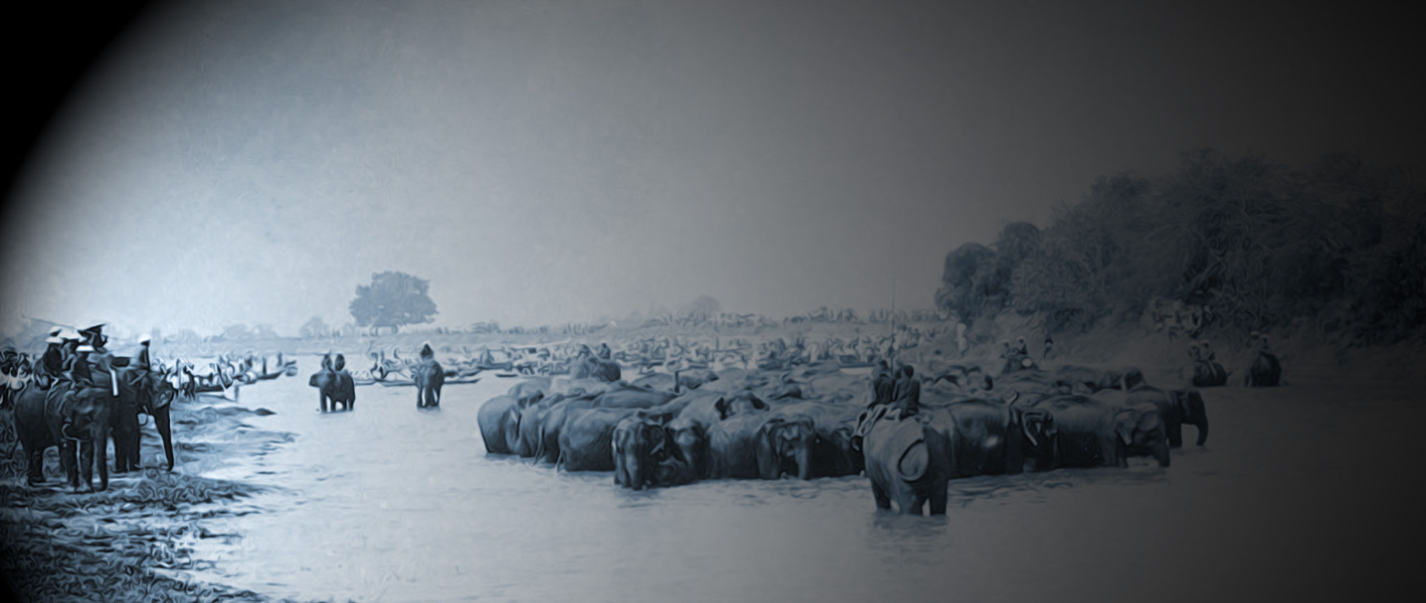 Herding Elephants Rangsit-Canal, 1900