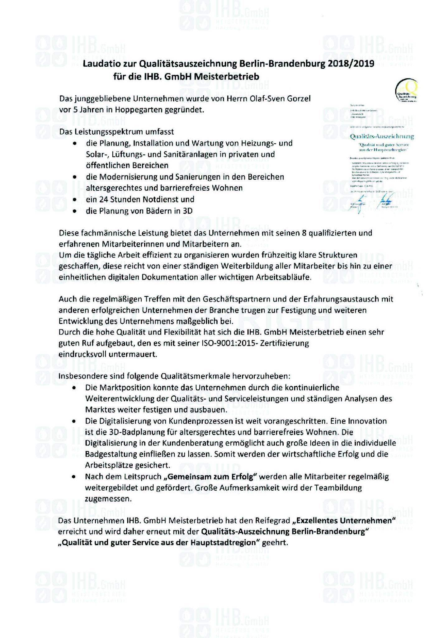 Qualitätsauszeichnung 2018/2019 Laudatio