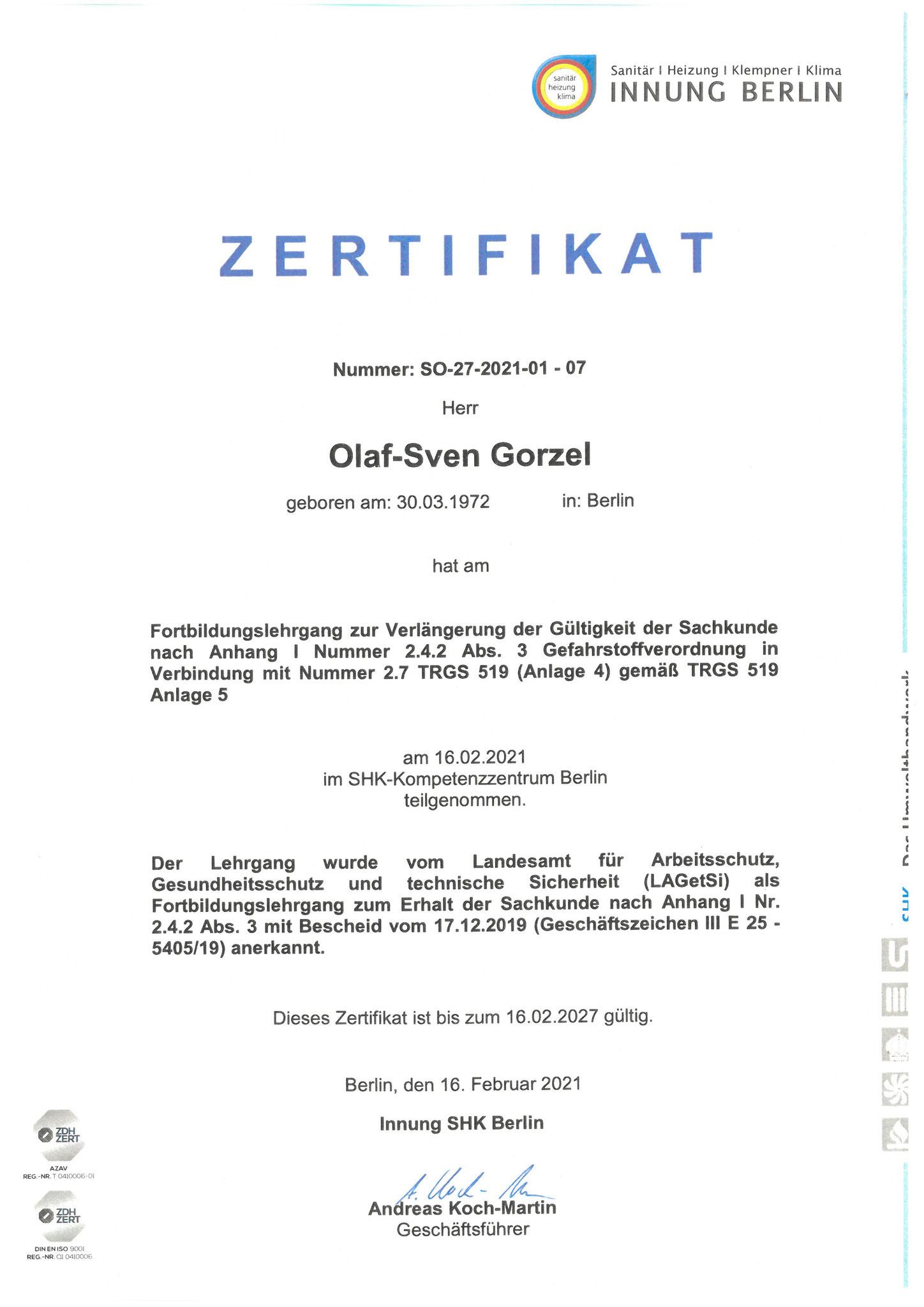 TRGS - Sachkundenachweis Gefahrenstoffverordnung - Verlängerung gültig bis 02.2027