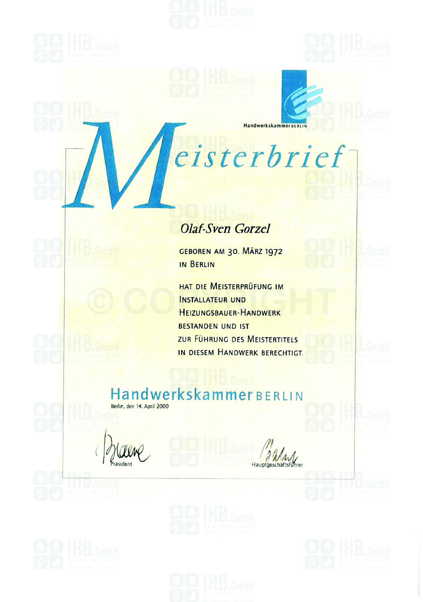 Meisterbrief GF