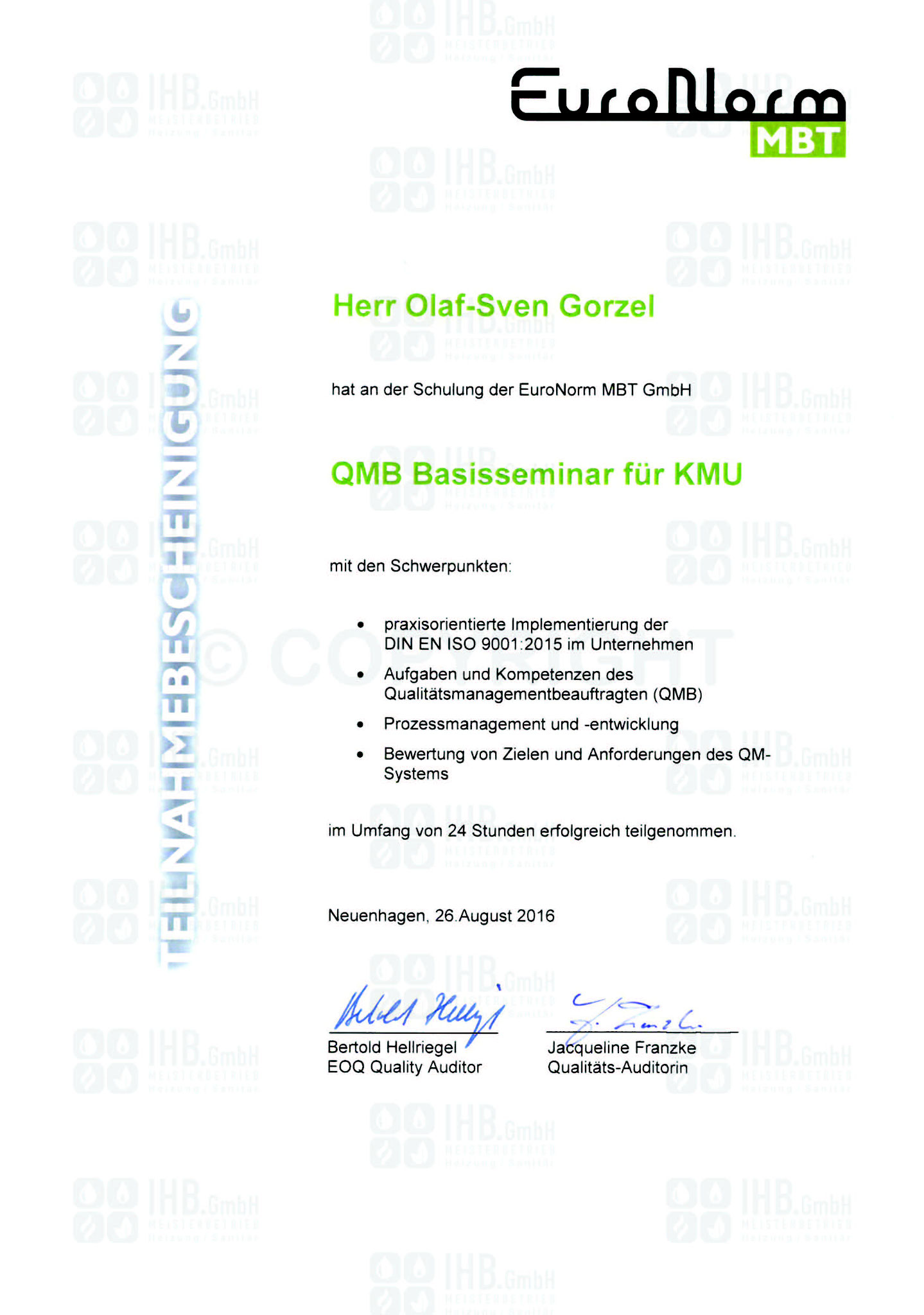 Qualitätsmanagement Basisseminar für KMU