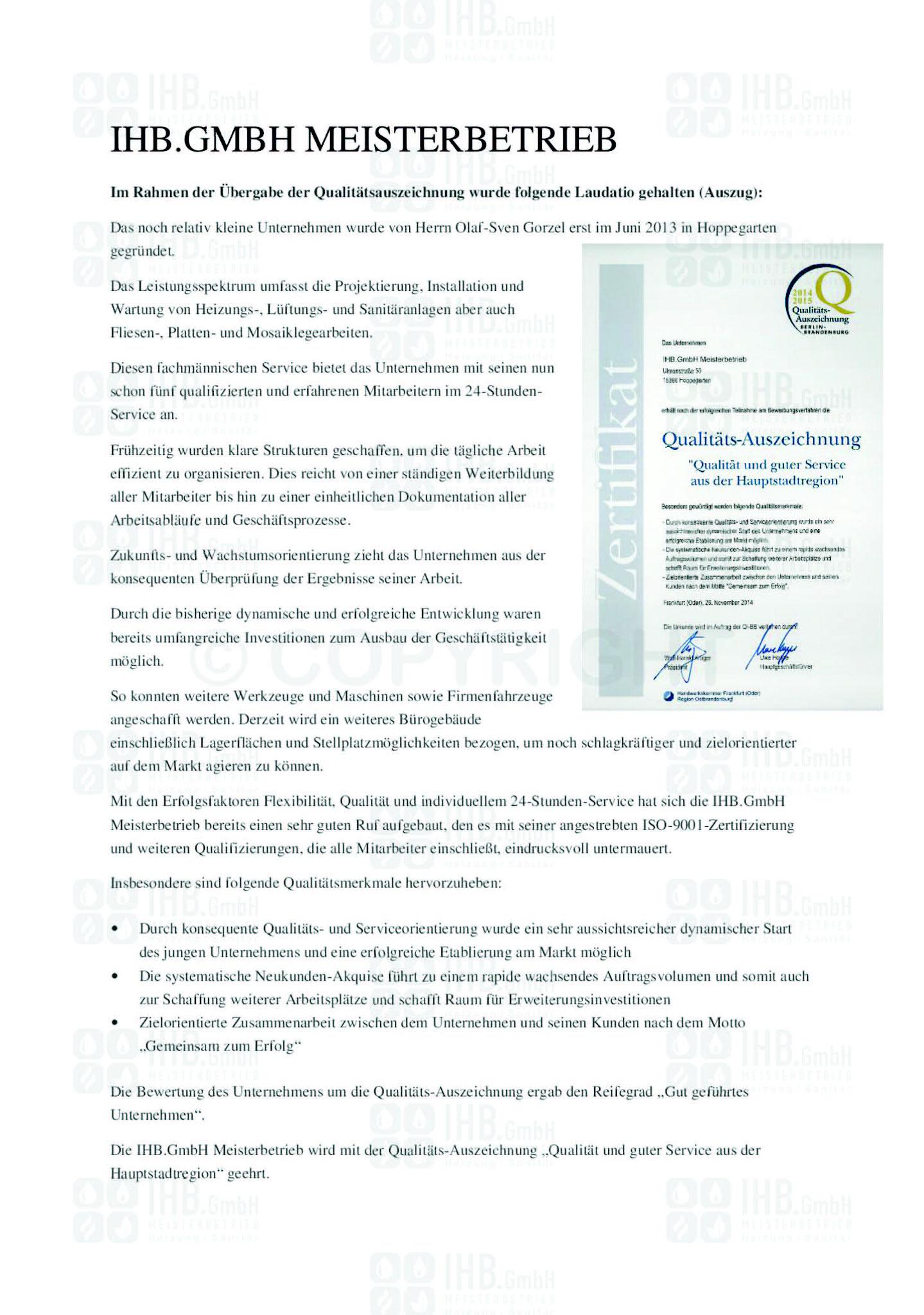 Qualitätsauszeichnung 2014/2015 - Laudatio