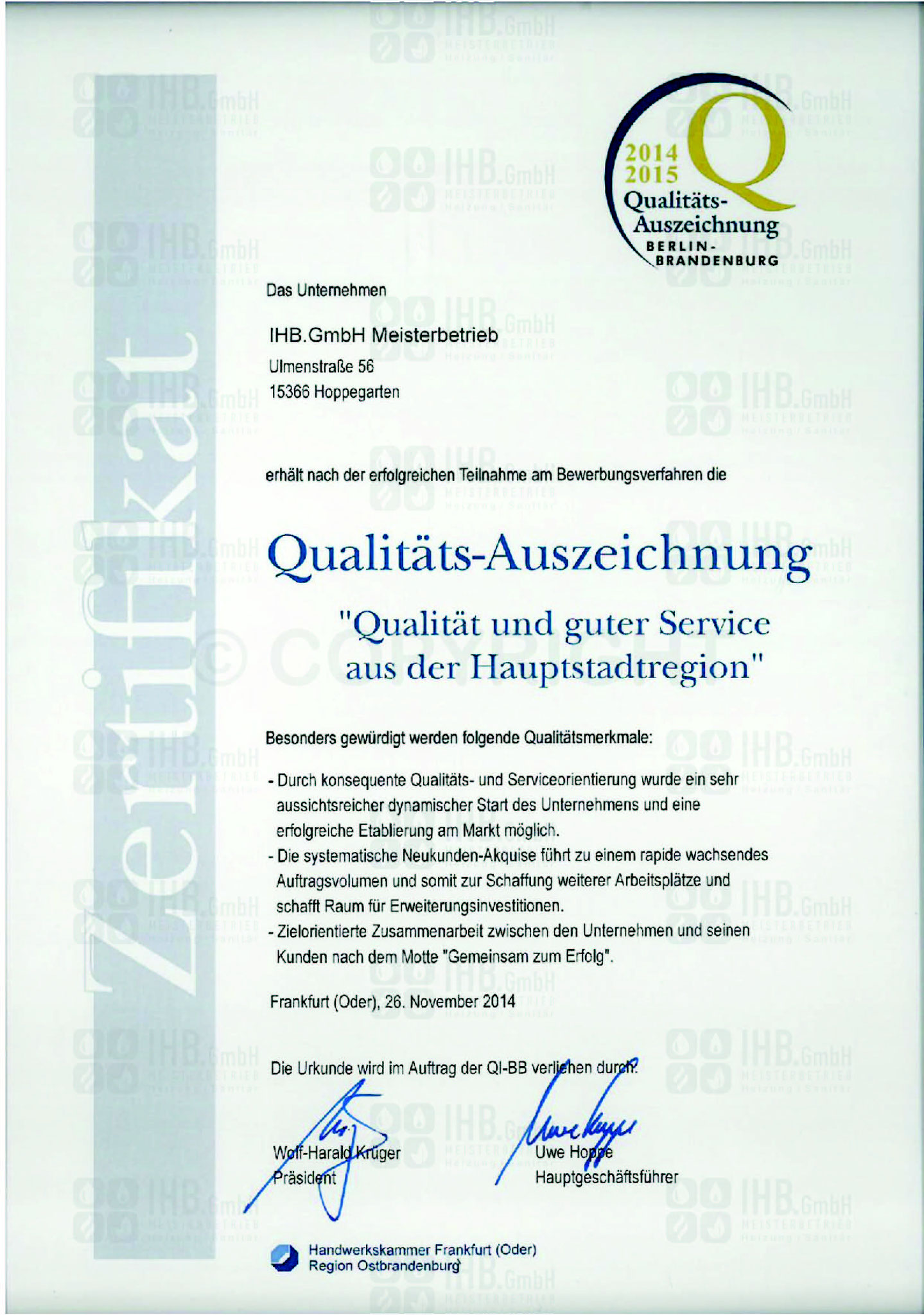 Qualitätsauszeichnung 2014/2015