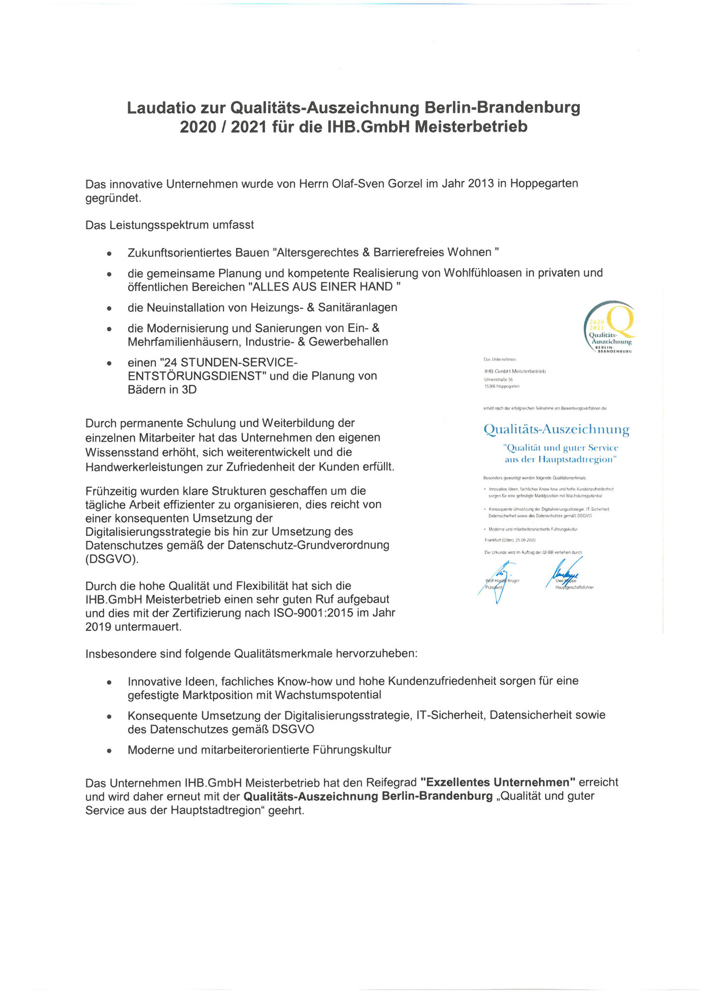 Qualitätsauszeichnung 2020/2021 Laudatio