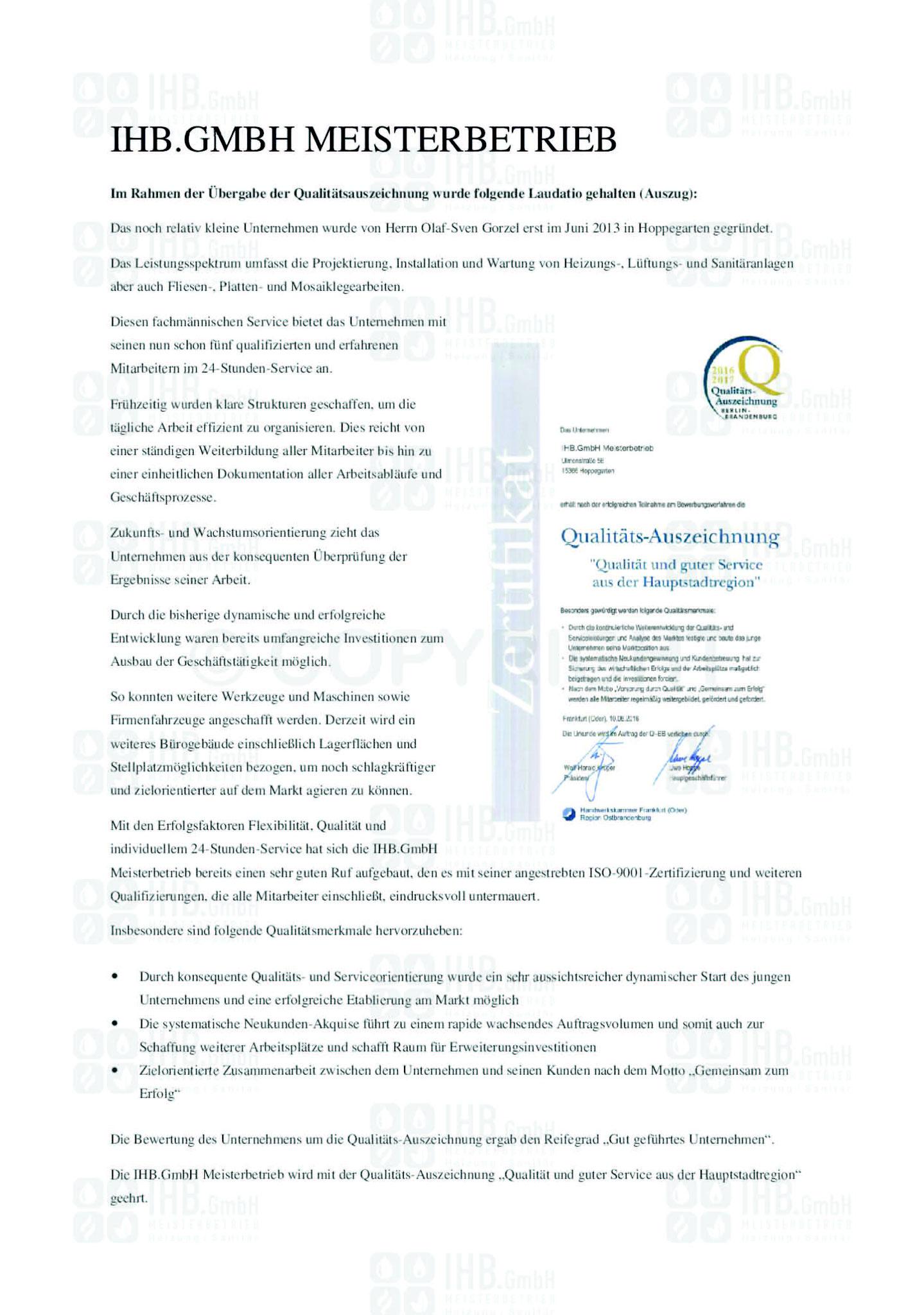 Qualitätsauszeichnung 2016/2017 - Laudation