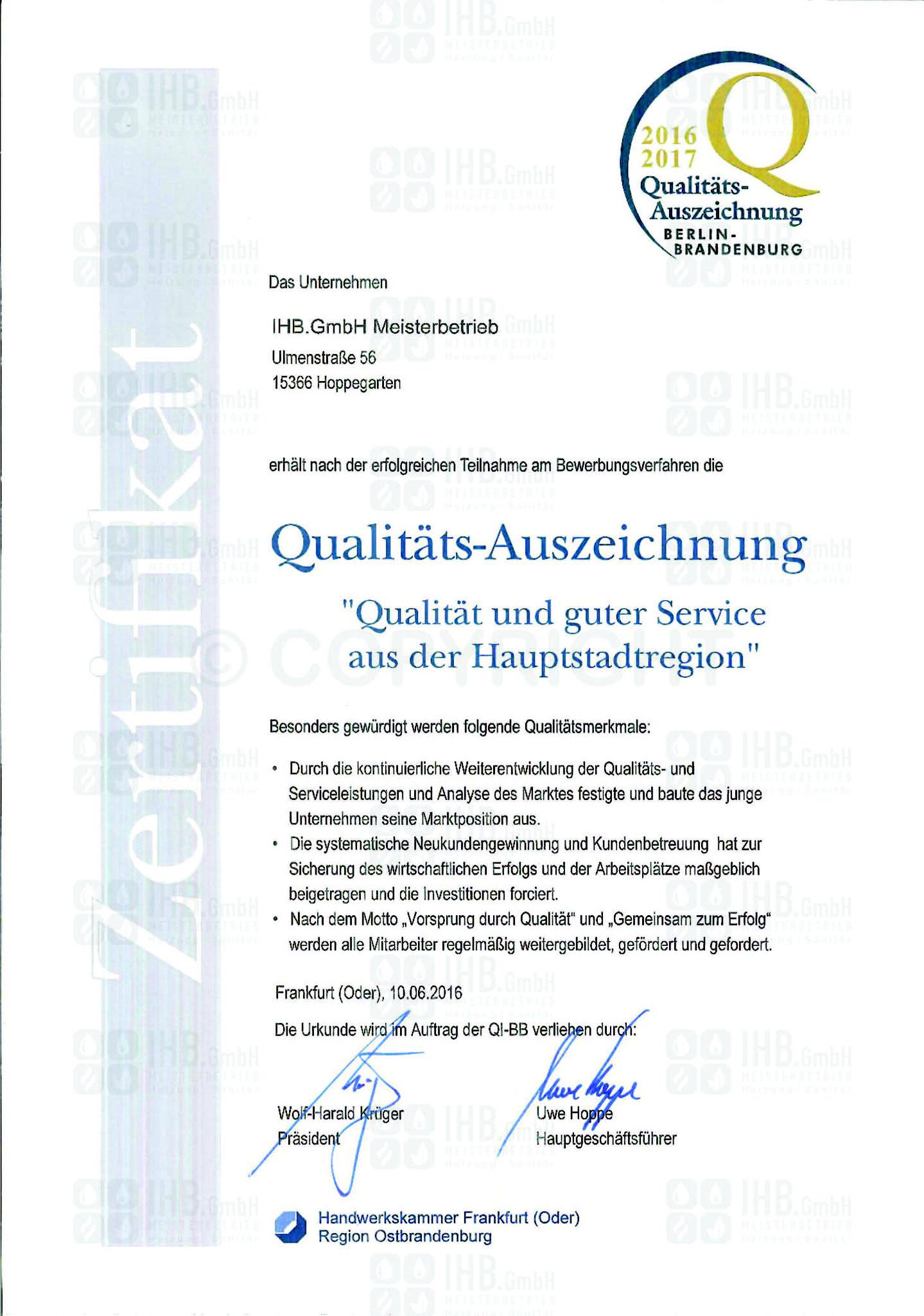 Qualitätsauszeichnung 2016/2017