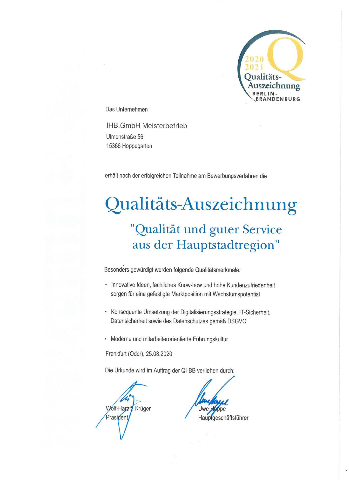 Qualitätsauszeichnung 2020/2021