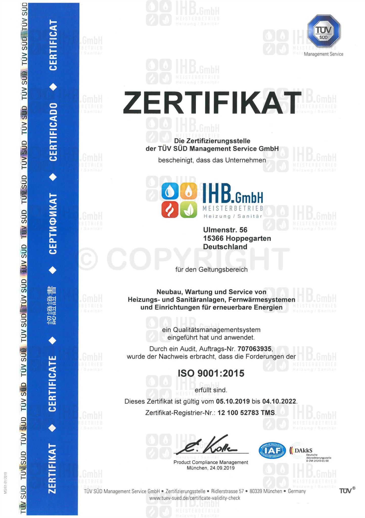 Zertifikat ISO 9001:2015 gültig bis 2022