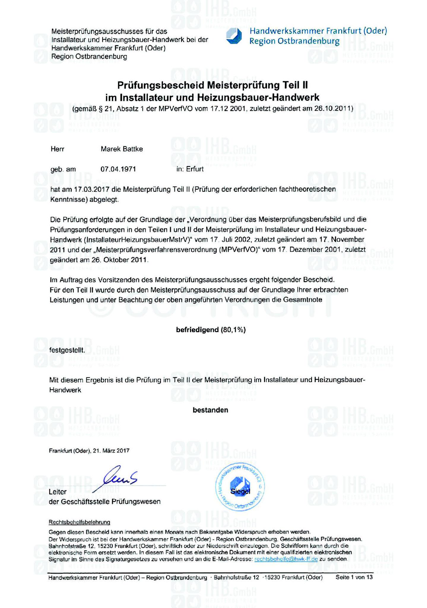 Prüfungsbescheid Meisterprüfung Teil 2 Marek Battke
