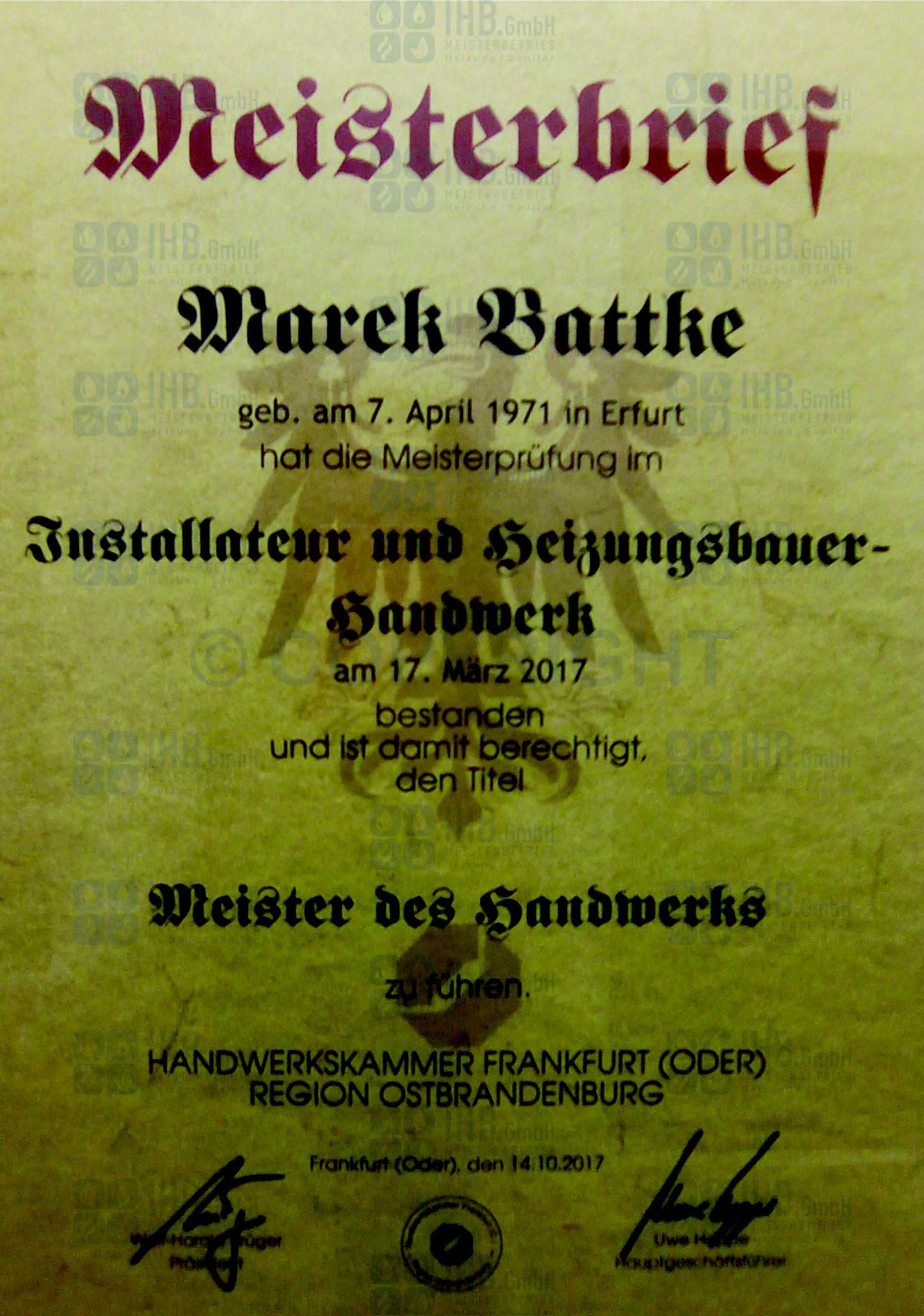 Meisterbrief Marek Battke