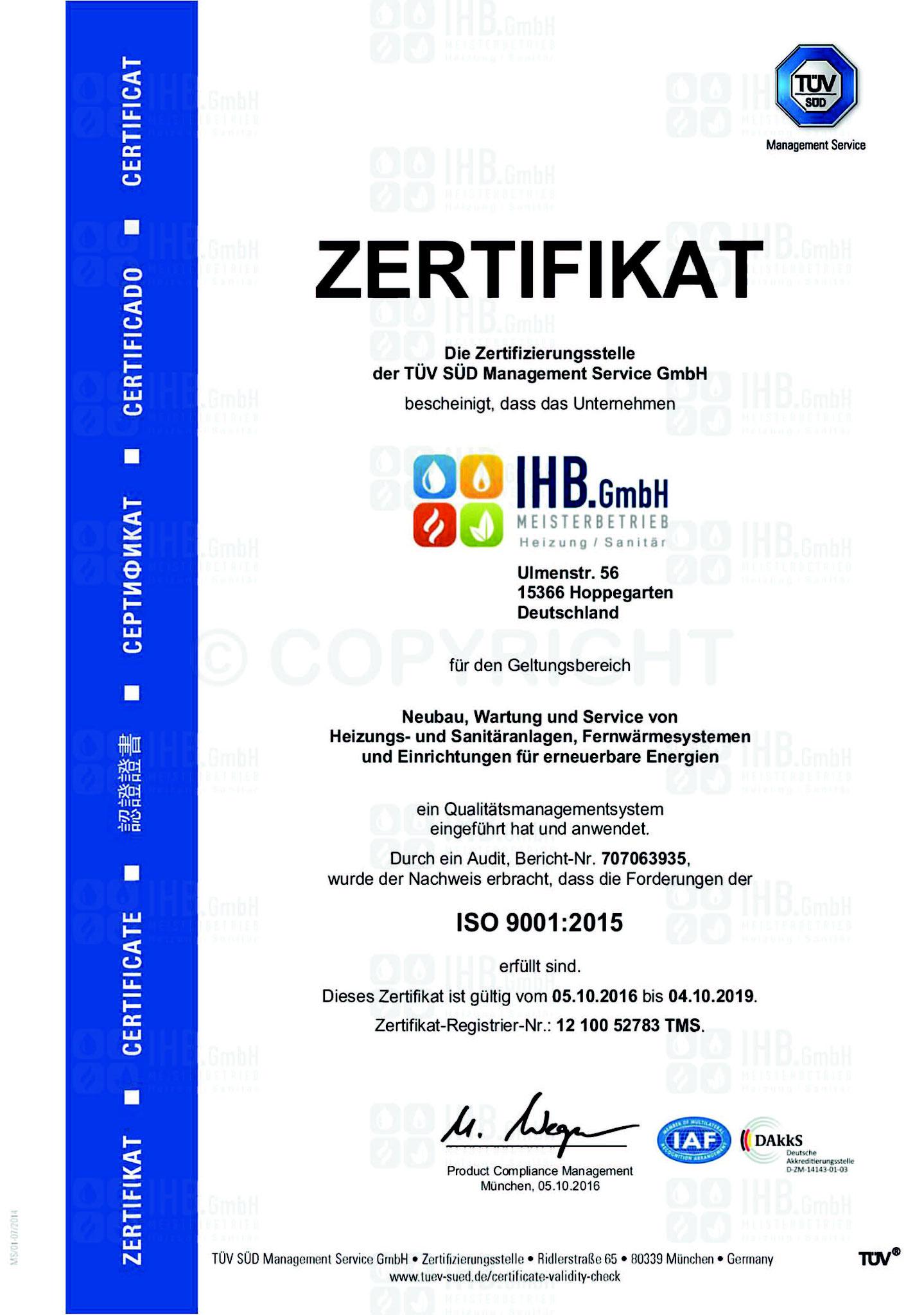 Zertifikat ISO 9001:2015 gültig bis 2019