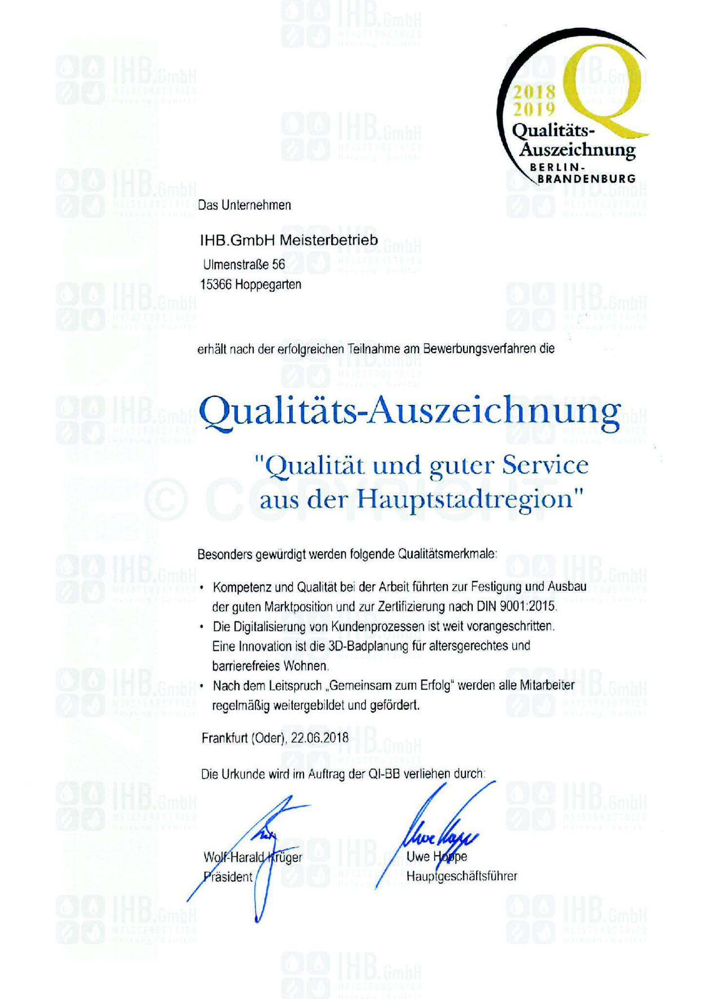 Qualitätsauszeichnung 2018/2019