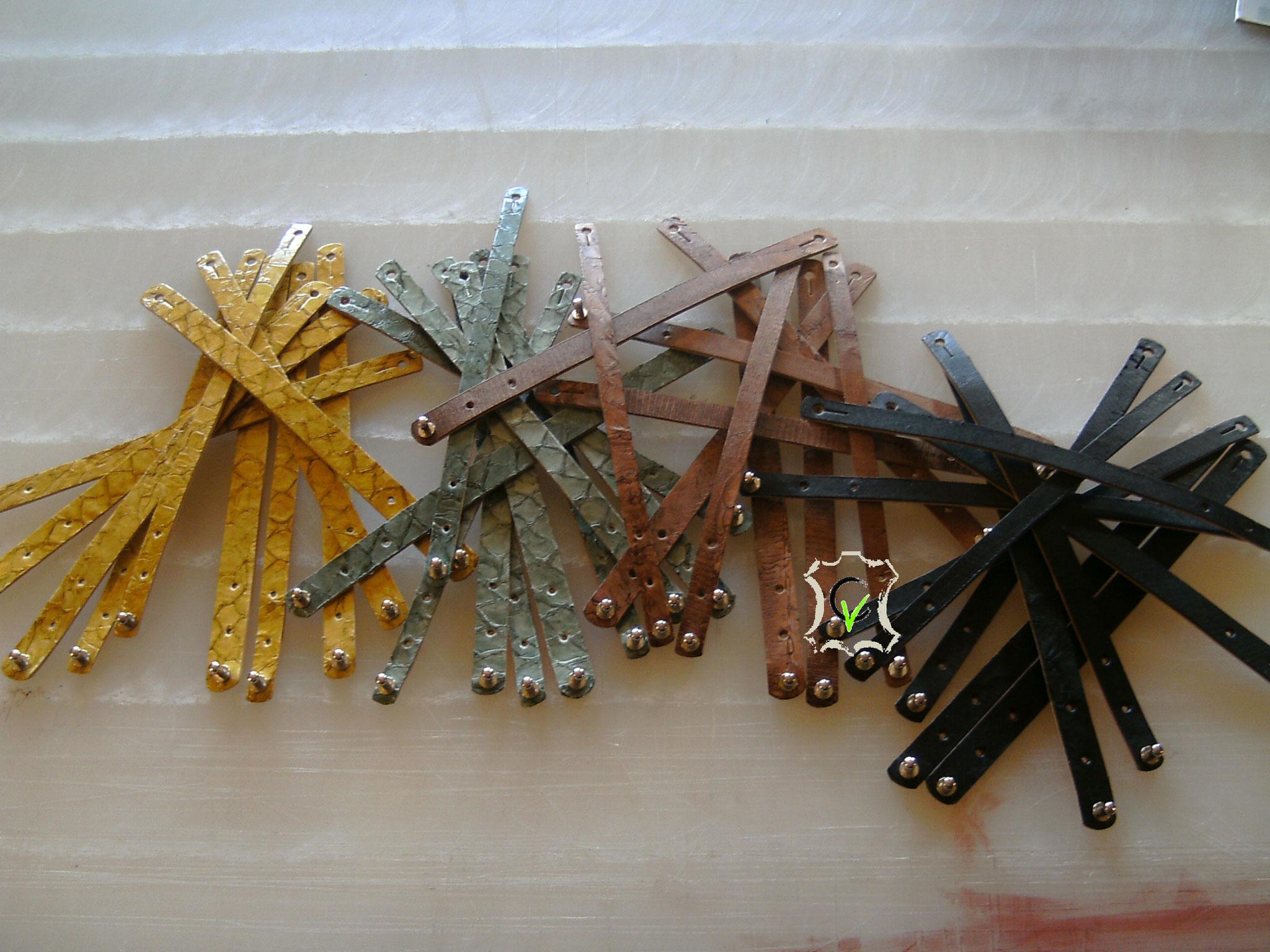 Bracelets en cuir de Carpes de Dombes doublés cuir vachette tannage végétal