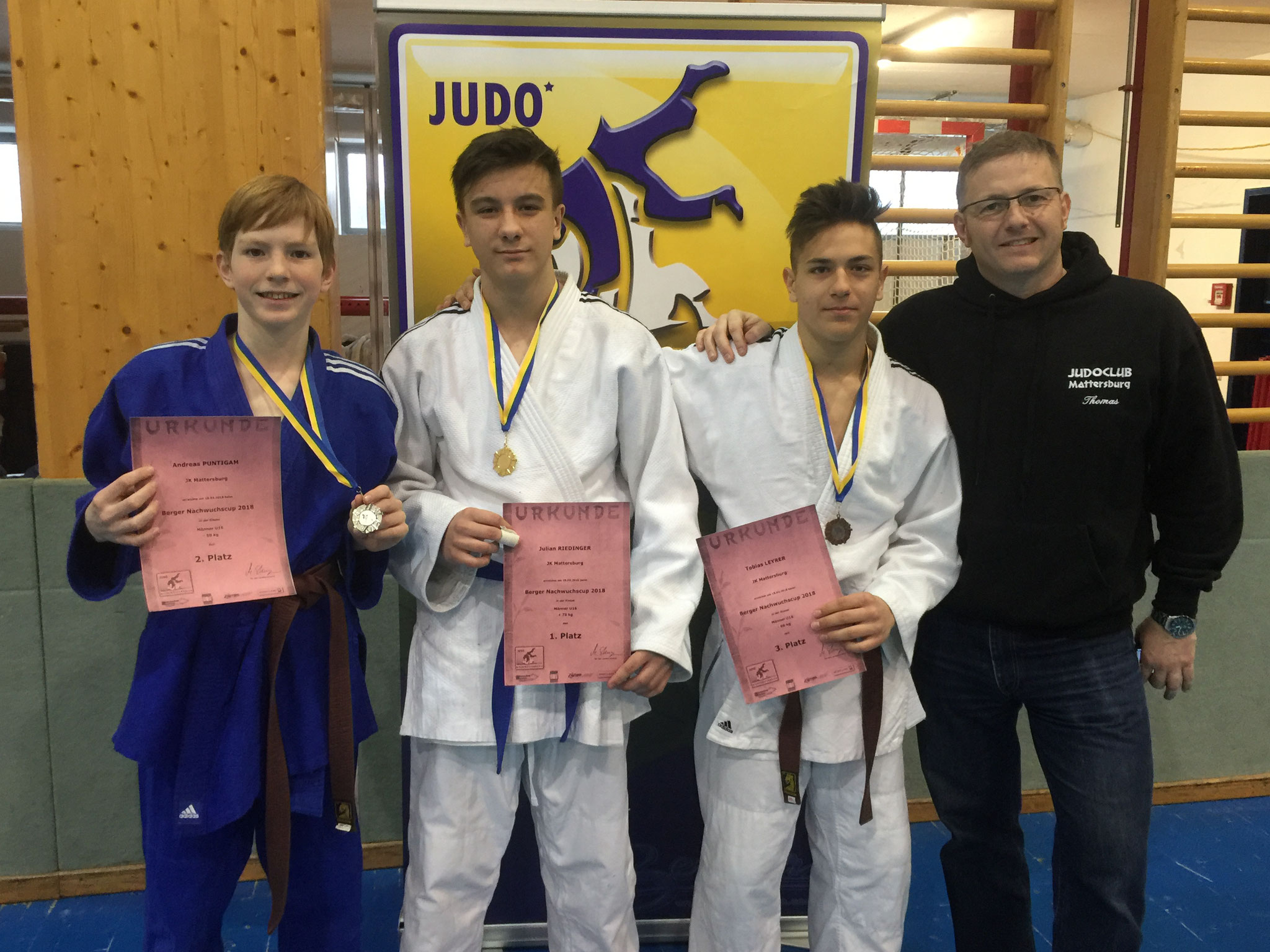 Andreas Puntigam, Julian Riedinger, Tobias Leyrer, Trainer T. Puntigam