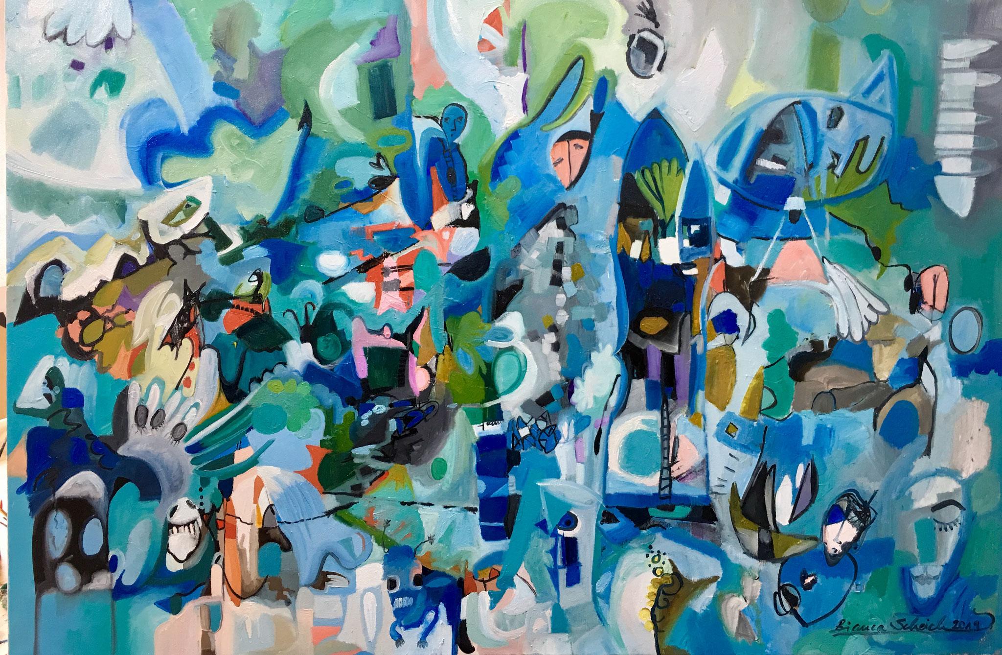 """""""Träume aus dem Meer"""", Öl auf Leinwand, 80 x 120 cm, 2019"""