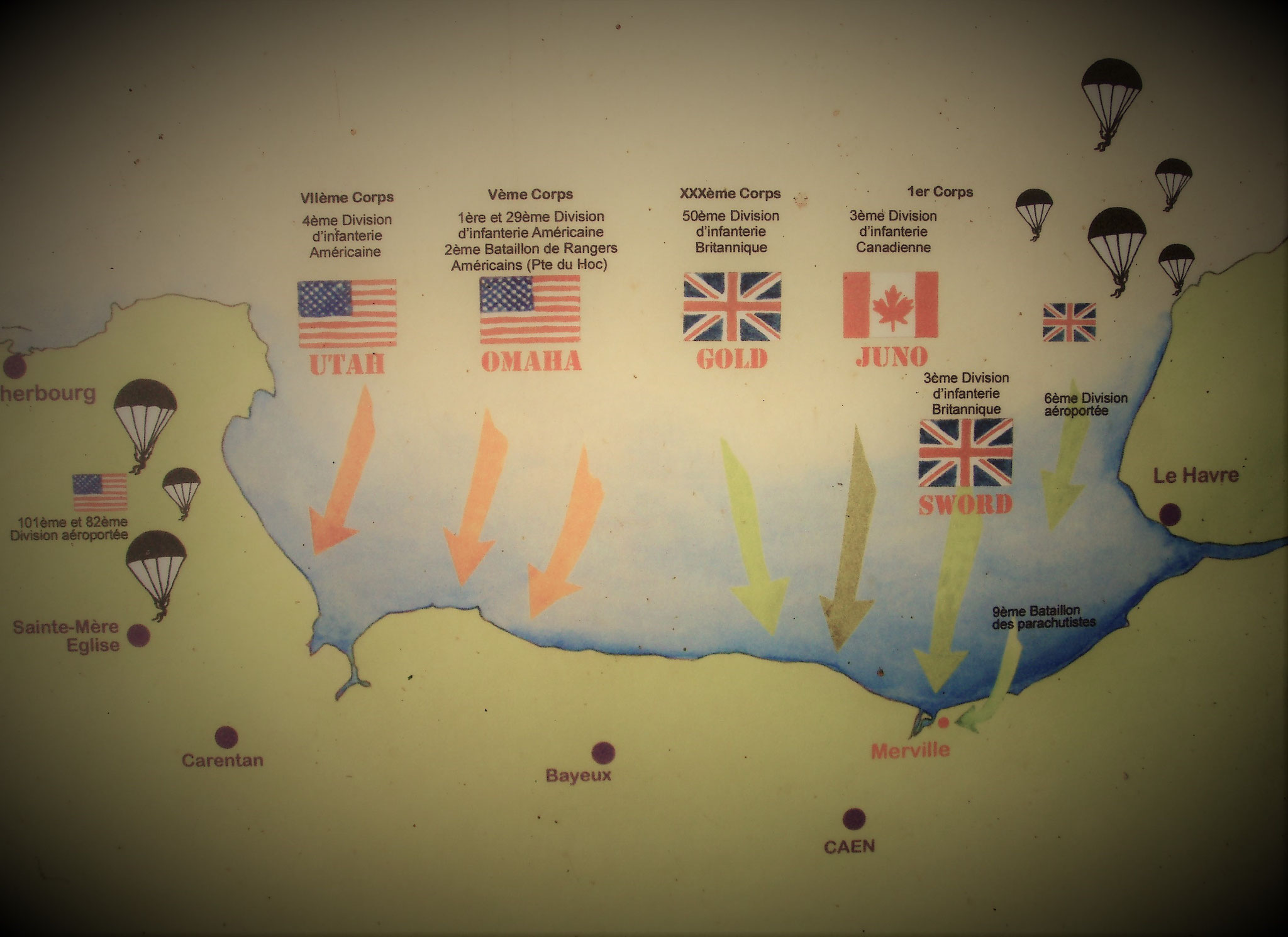 D-day map - Normandie Bunker normandia