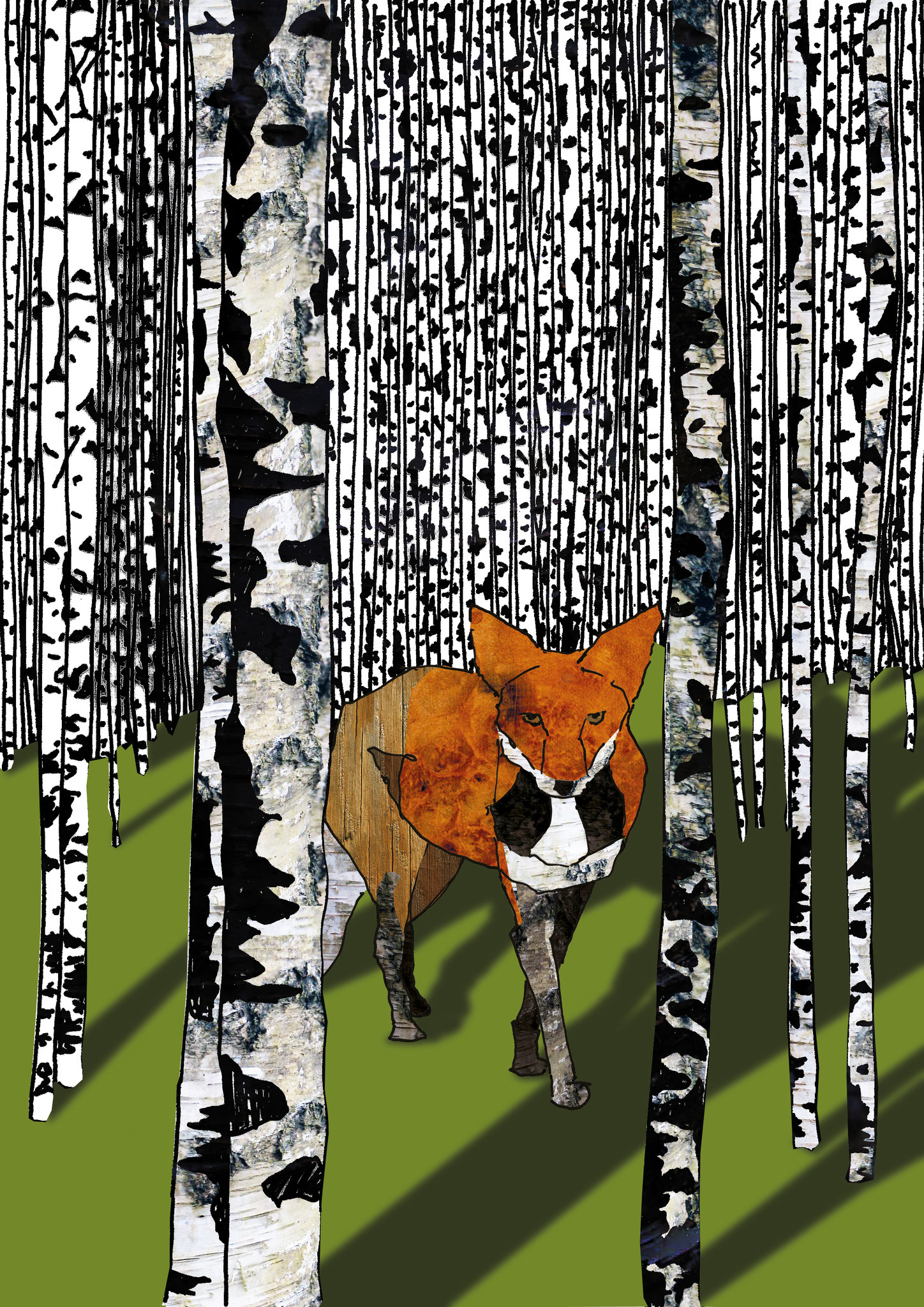 Fuchs im Birkenwald, Collage