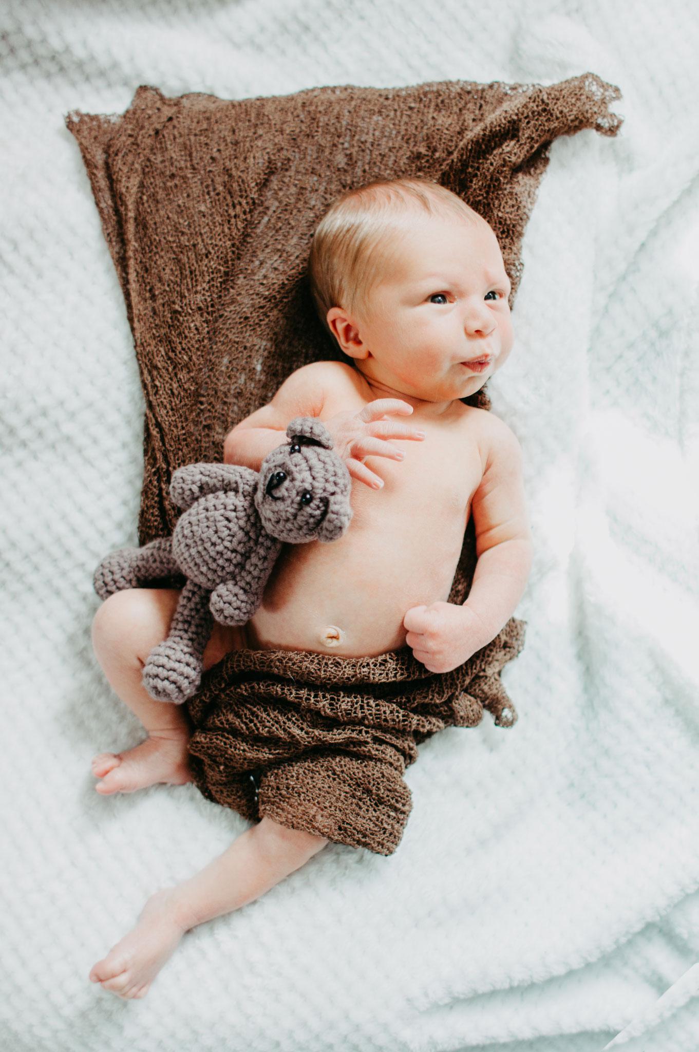 Neugeborenes nacktes Baby eingewickelt mit Kuscheltier