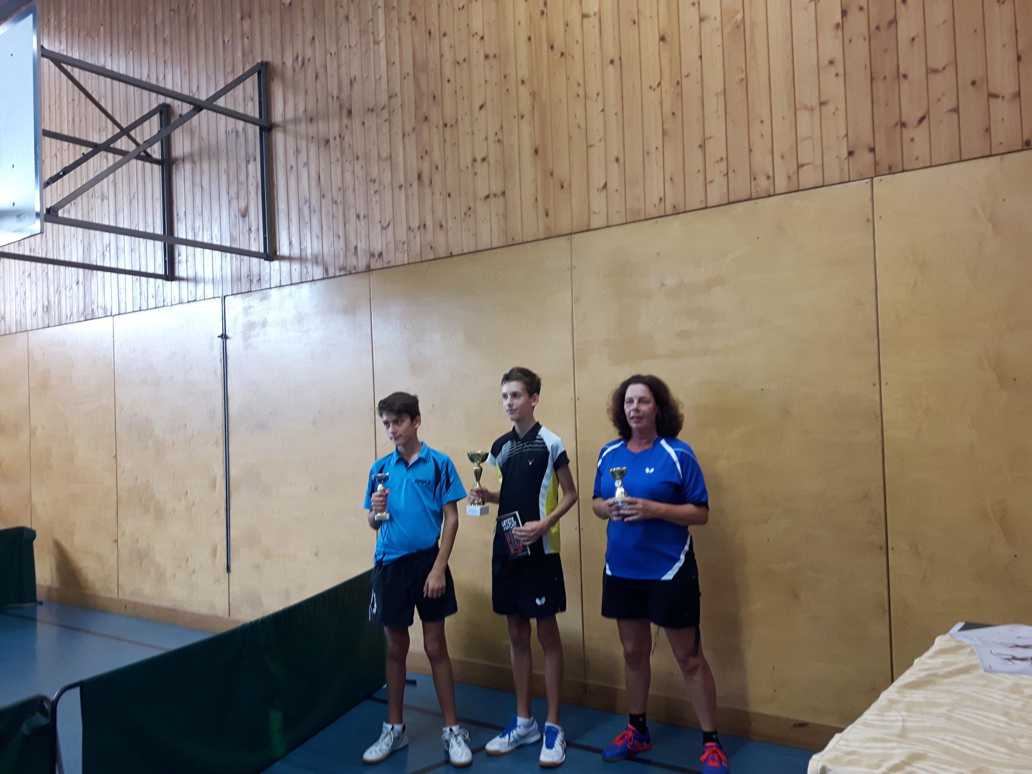 Siegerfoto Bewerb F: v.l.n.r. Stephan Wyss (FLÖT) (Platz 2), Fabian Kriha (SSTO) (Sieger), Roswitha Balogh (SSTO) (Platz 3)