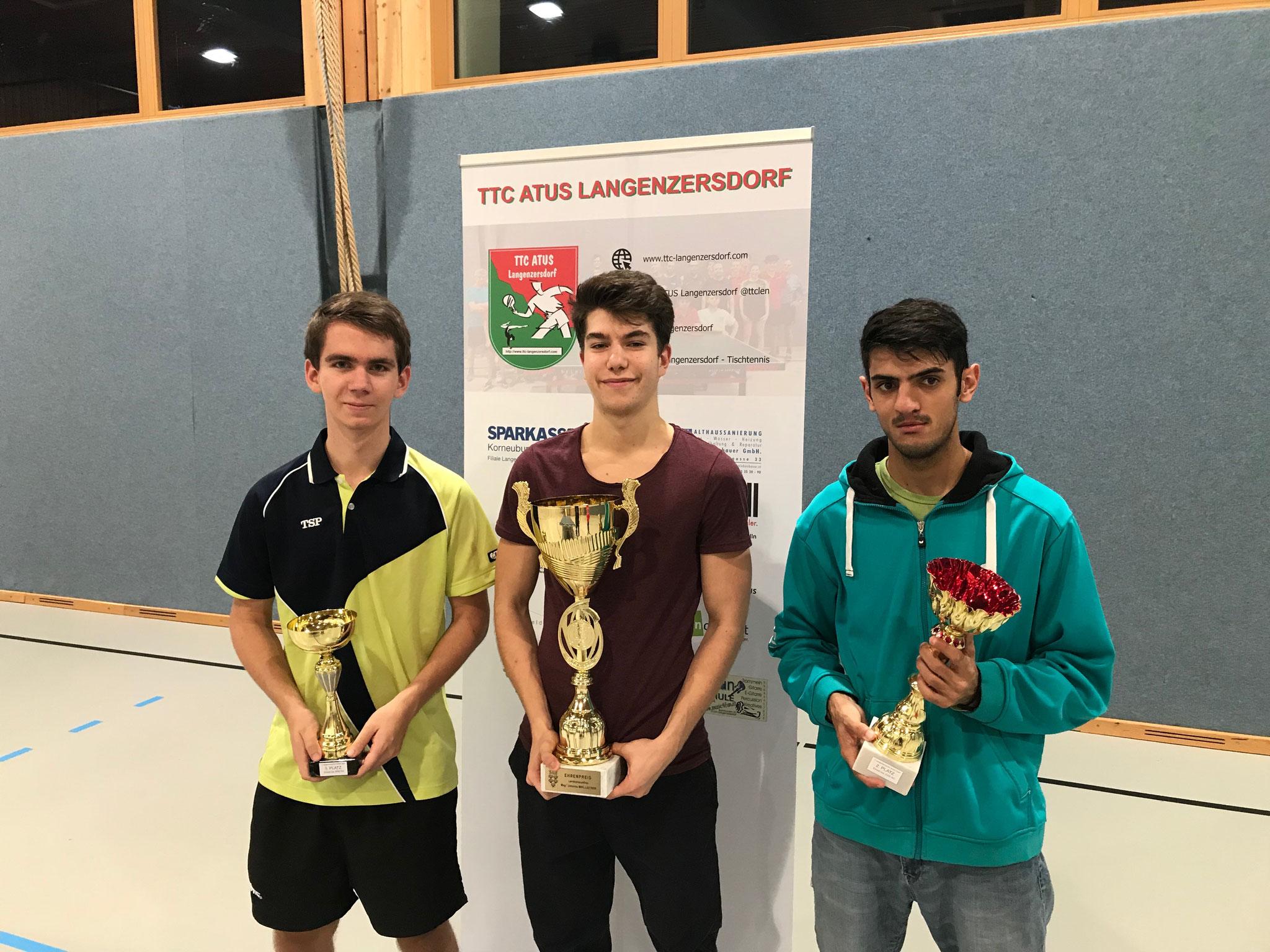 Siegerfoto Bewerb A: v.l.n.r. Matthias Riedler (LENZ) (Platz 3), Markus Baumgartner (LENZ) (Sieger), Ugljesa Lukic (Platz 2)