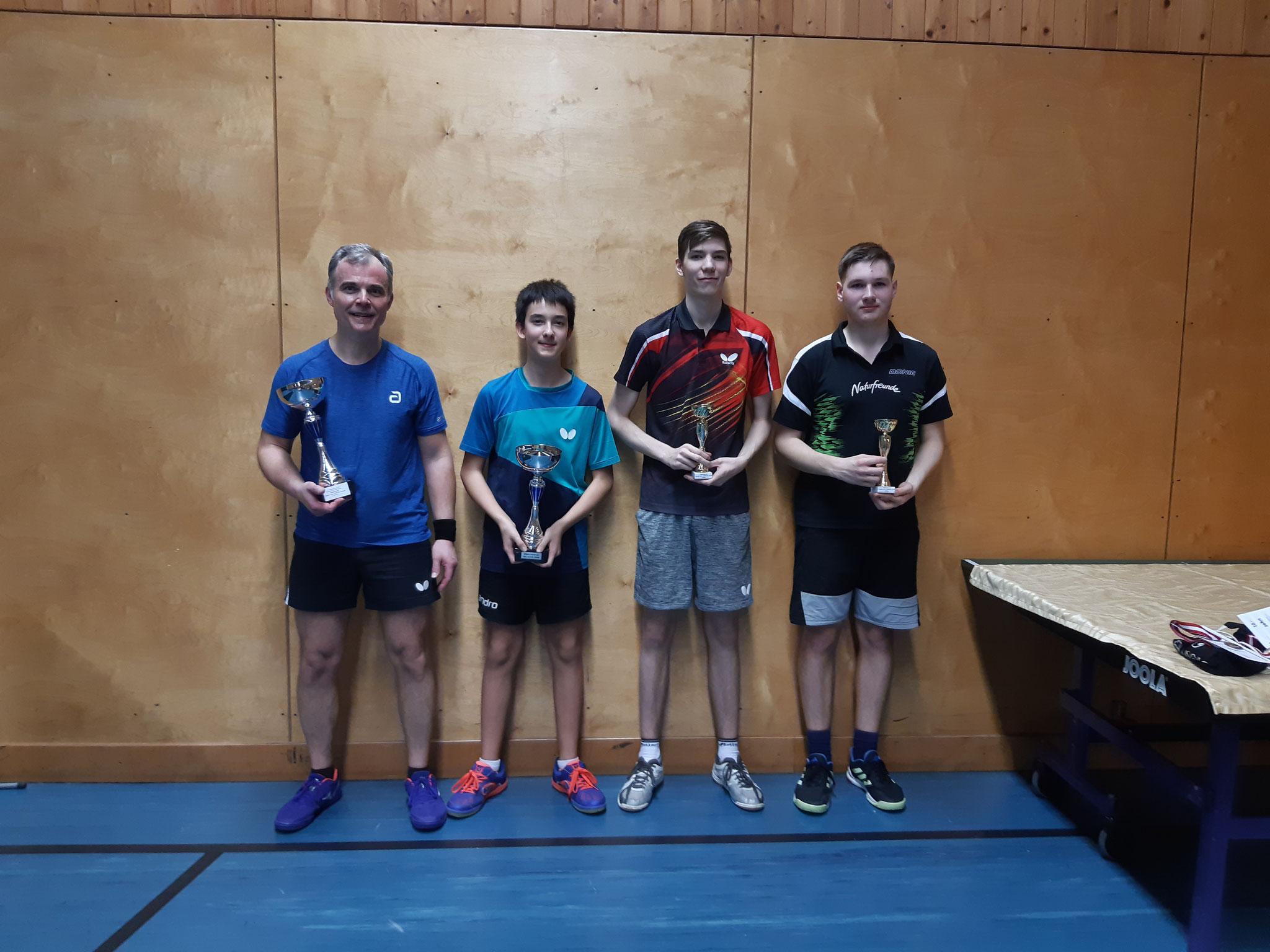 Siegerfoto Bewerb Team: v.l.n.r. Robert Jandl & Niklas Damm (beide SSTO) (Sieger), Lukas Baumgartner & Alexander Cvetkovic (LENZ & NFS) (Platz 2)