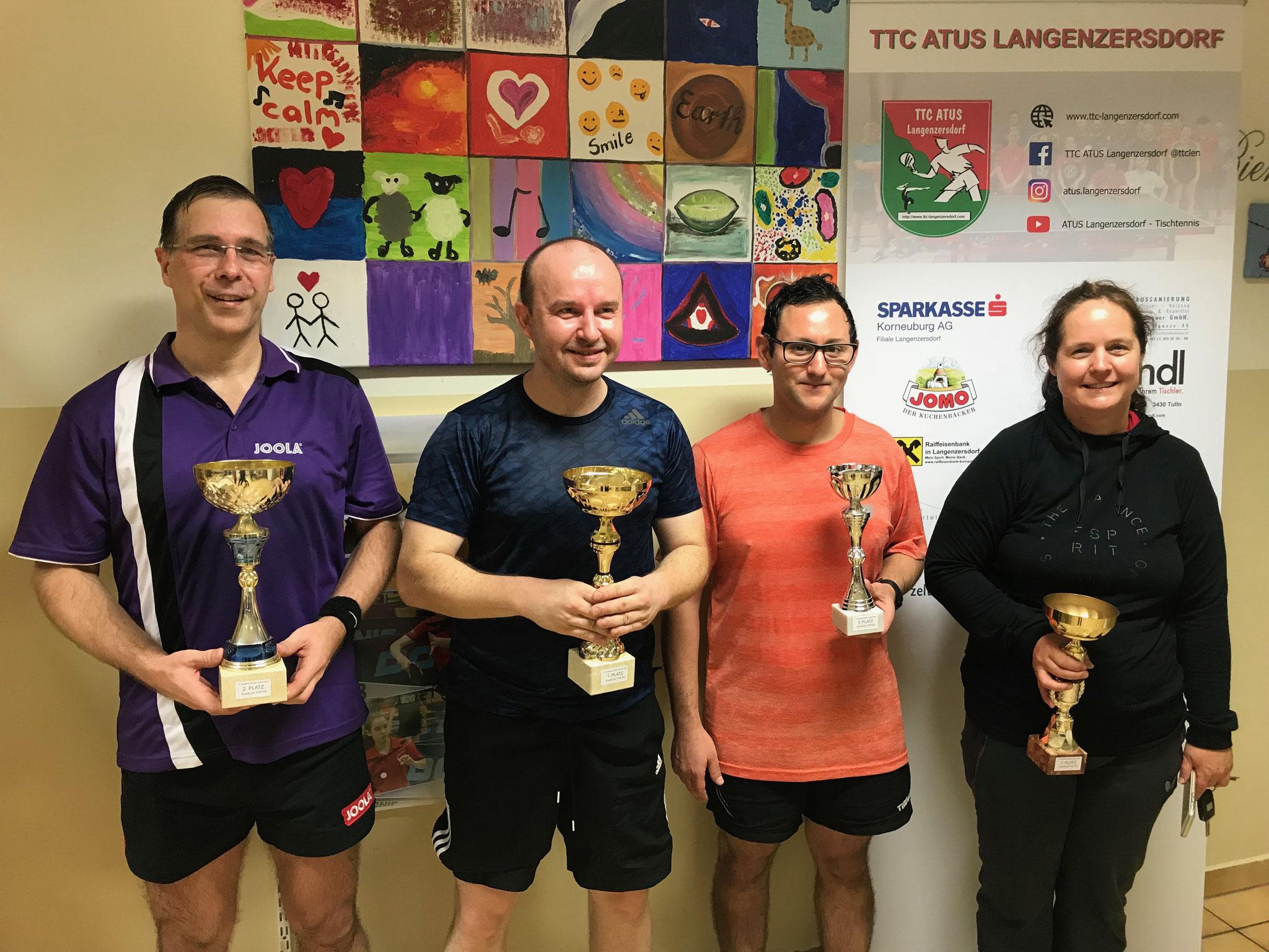 Siegerfoto Bewerb D: v.l.n.r. Christian Börner (WPAE) (Platz 2), Pawel Piotr Galek (LENZ) (Sieger), Alexander Fletl (SSTO) und Eva Geineder (LENZ) (beide Platz 3)