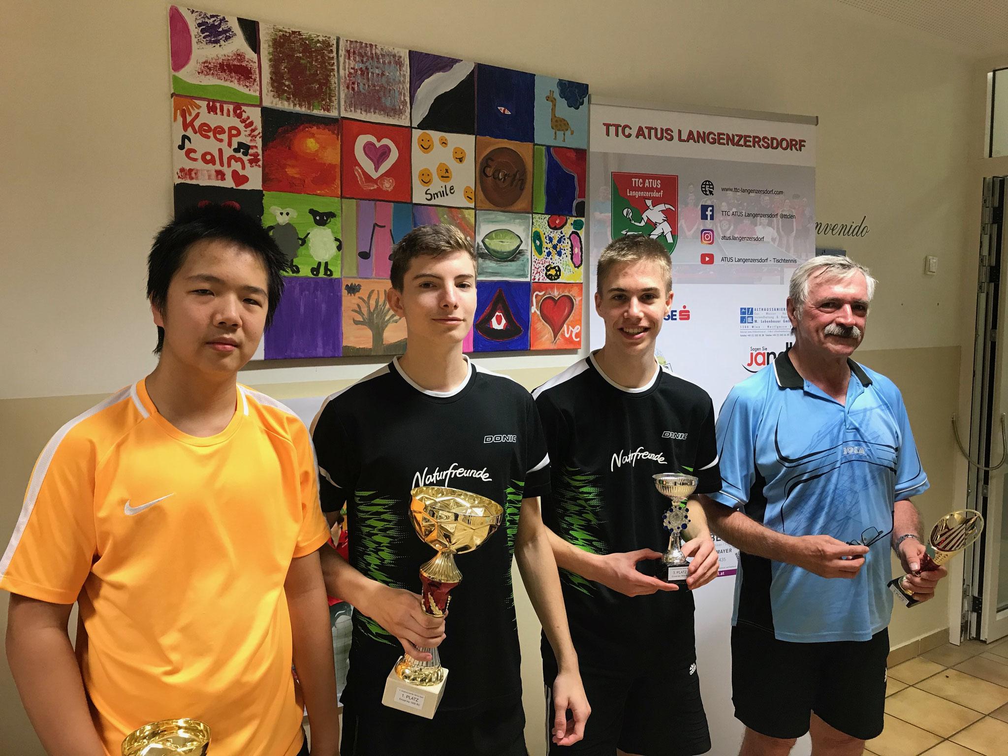 Siegerfoto Bewerb B: v.l.n.r. Eric Tang (NFS) (Platz 2), Martin Trausmuth (NFS) (Sieger), Christian Ritter (NFS) und Robert Panner (SKLW) (beide Platz 3)