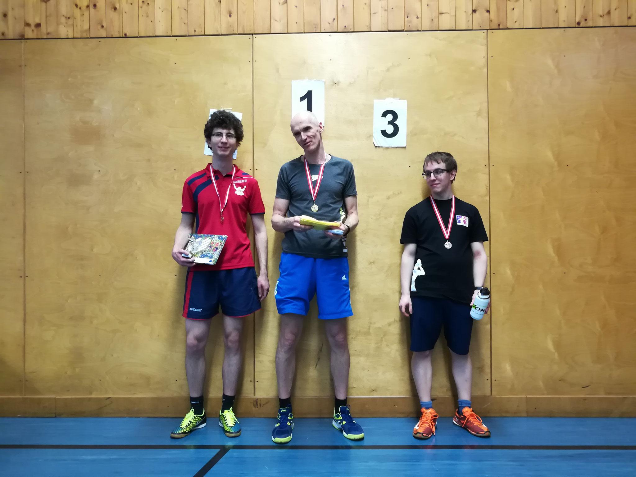 Gesamtsieger Bewerb F: v.l.n.r. Michael Holzmann (LENZ) (Platz 2), Roland Reisch (TULL) (Sieger), Lukas Ruhedorffer (OLY) (Platz 3)