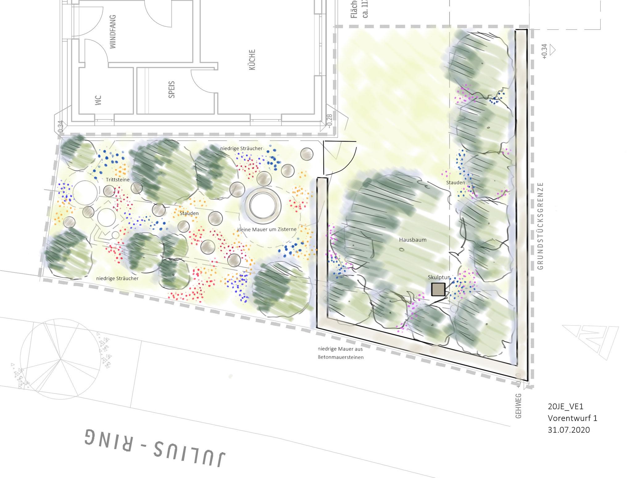Vorentwurfsskizze für einen Vorgarten, Hirschaid