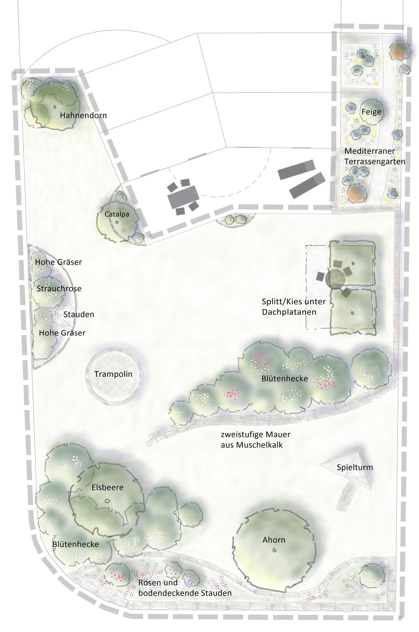 Gartenidee für die Umgestaltung eines Familiengartens im LKR Hassberge