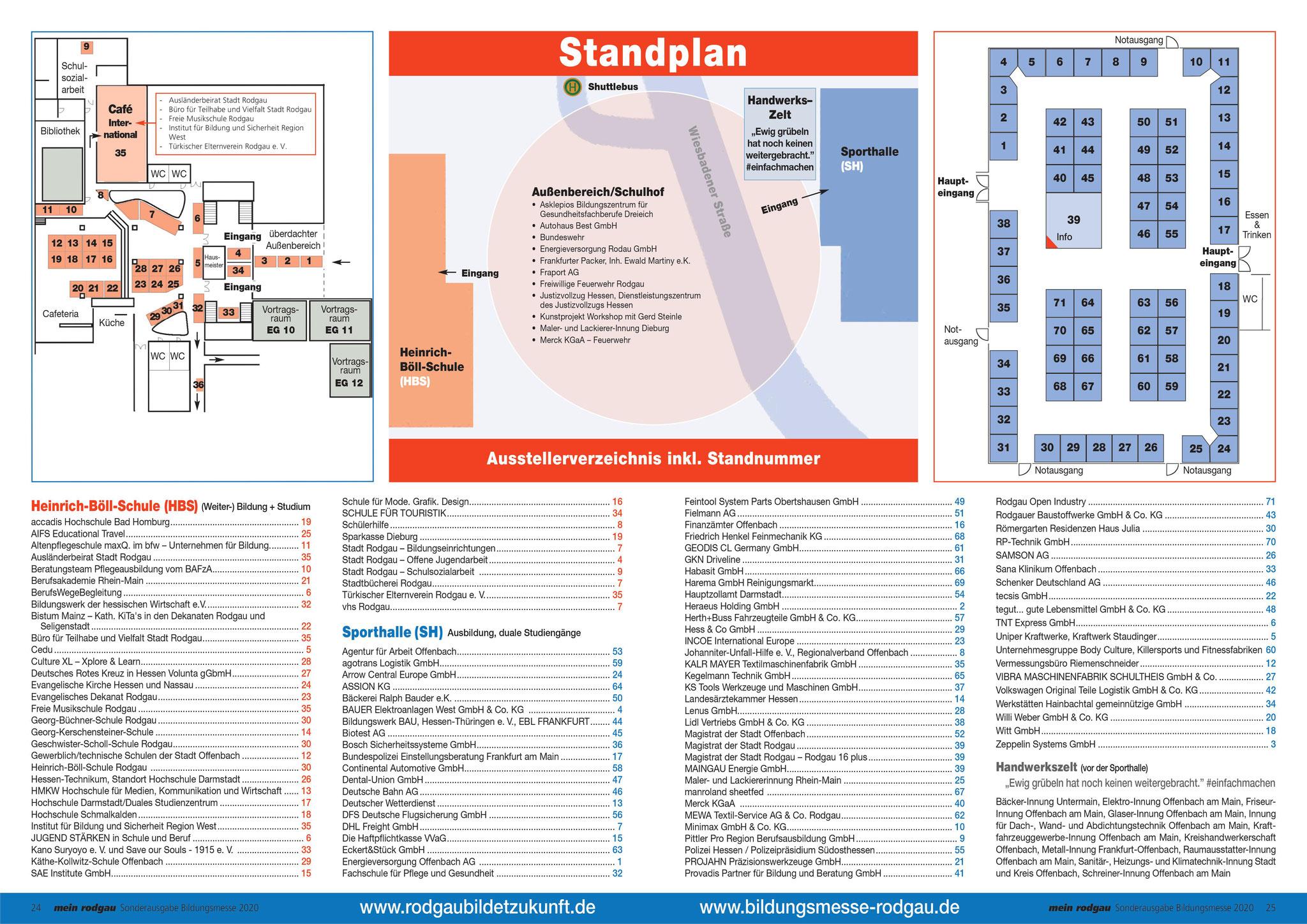 Standplan der Bildungsmesse Rodgau 2020. Wir waren im Außenbereich zu finden.