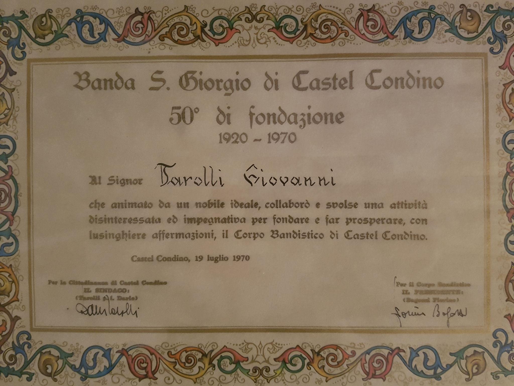10 agosto 1970 Riconoscimento a Tarolli Giovanni