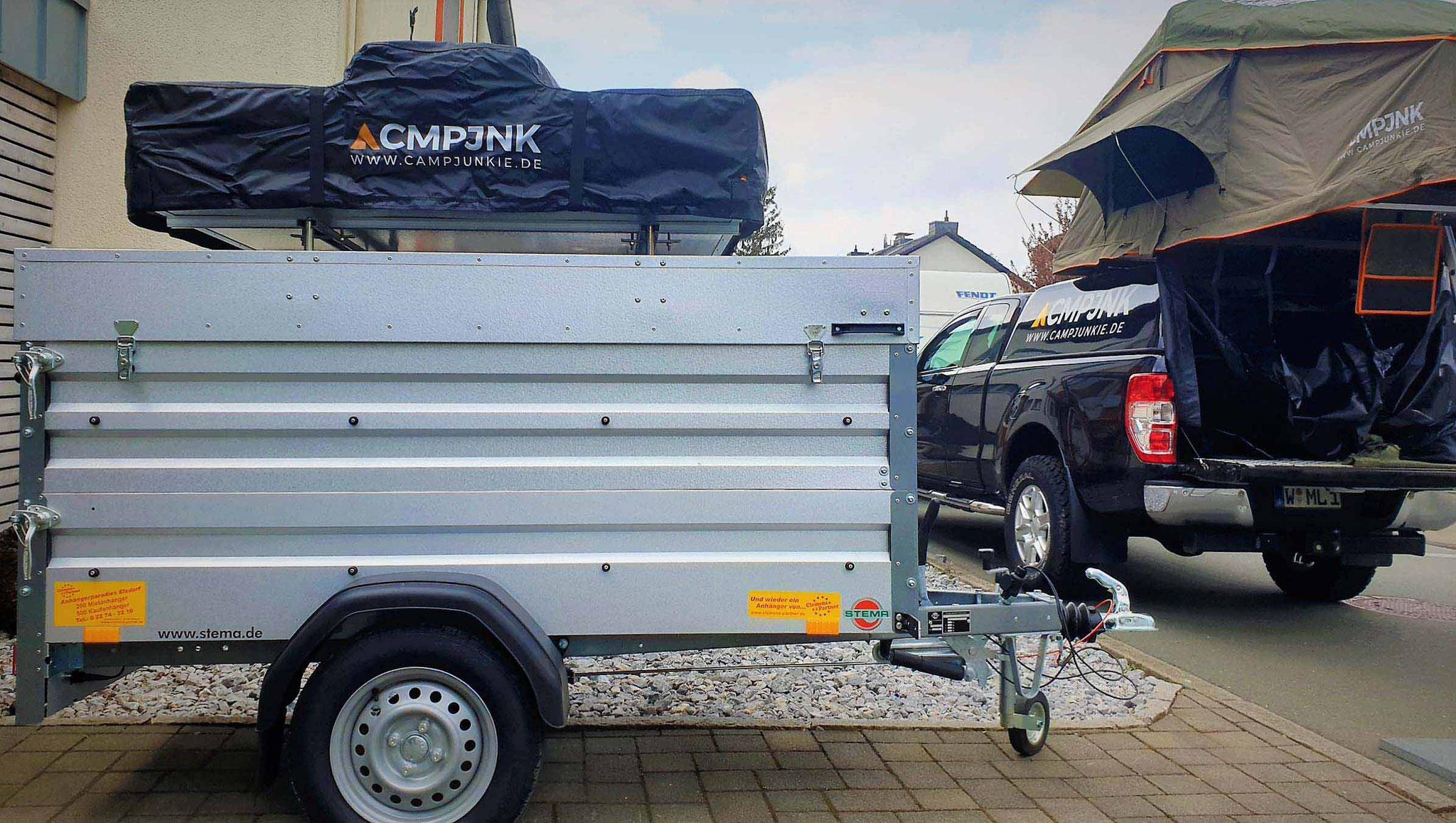 CMPJNK Dachzelt auf Anhänger montiert