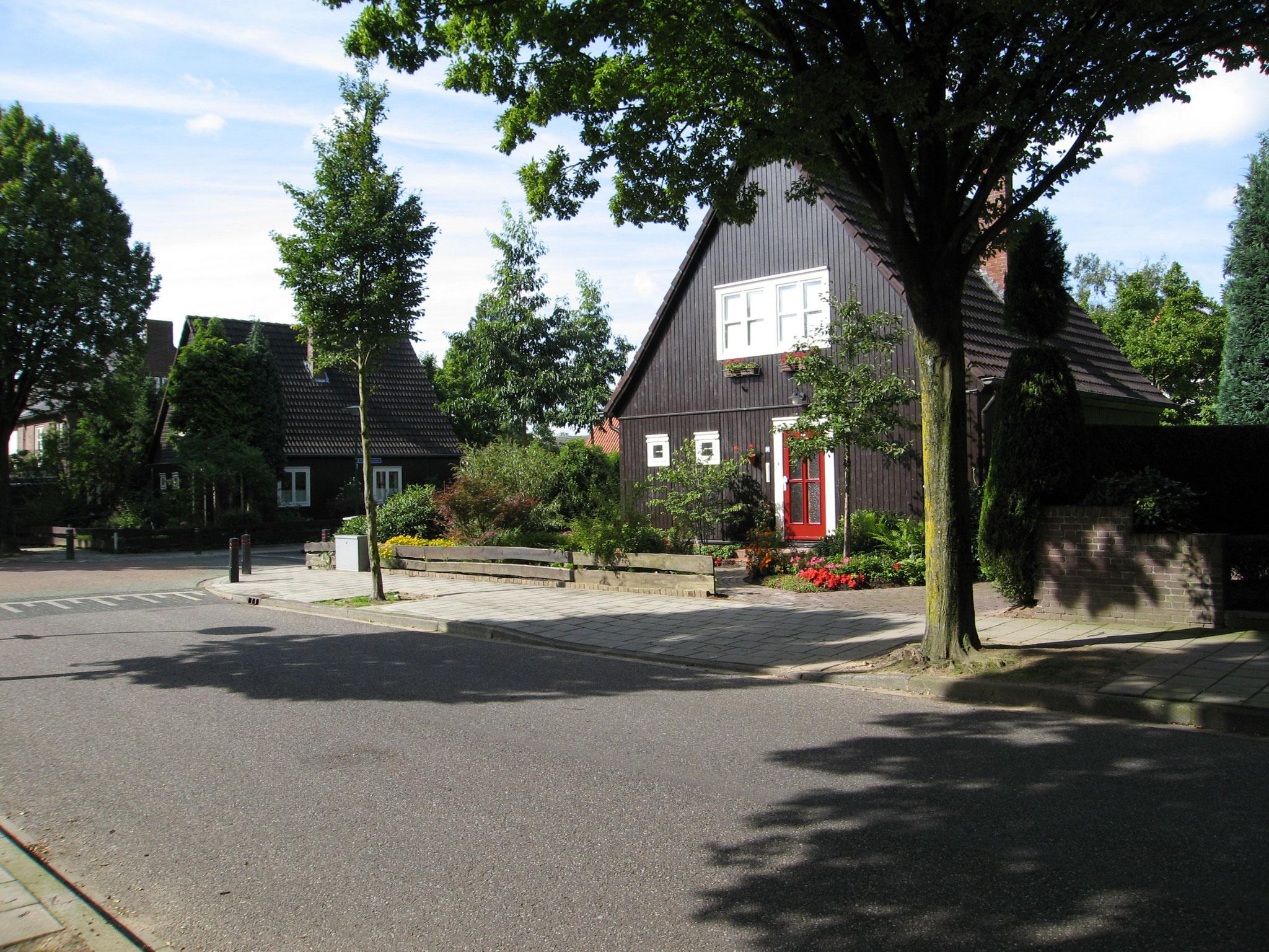 Houten Zweedse woningen aan de Mussenbroekstraat.