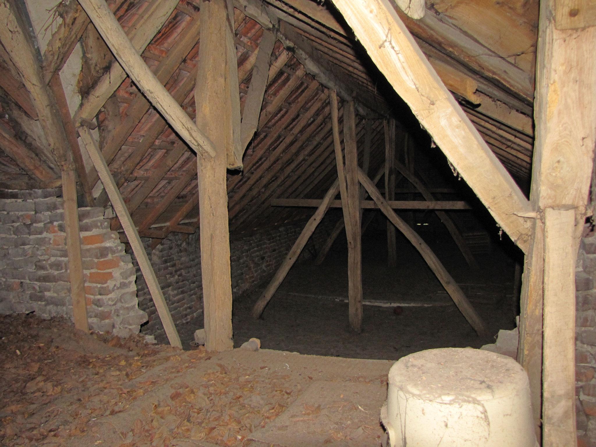 Asymmetrisch boven de stal geplaatste eiken spanten: indicatie verbreding stal.