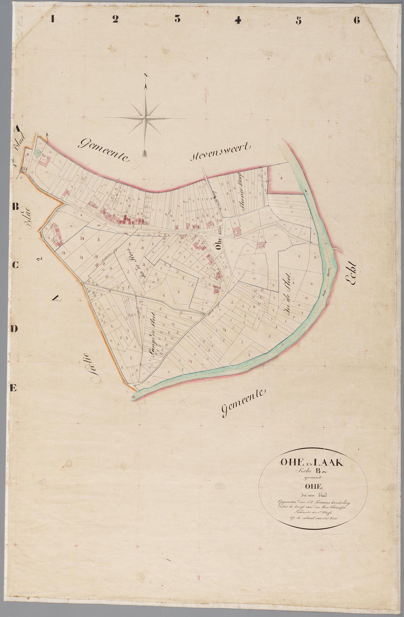 Kadastrale minuutkaart van 1828 met daarop het kasteelcomplex.