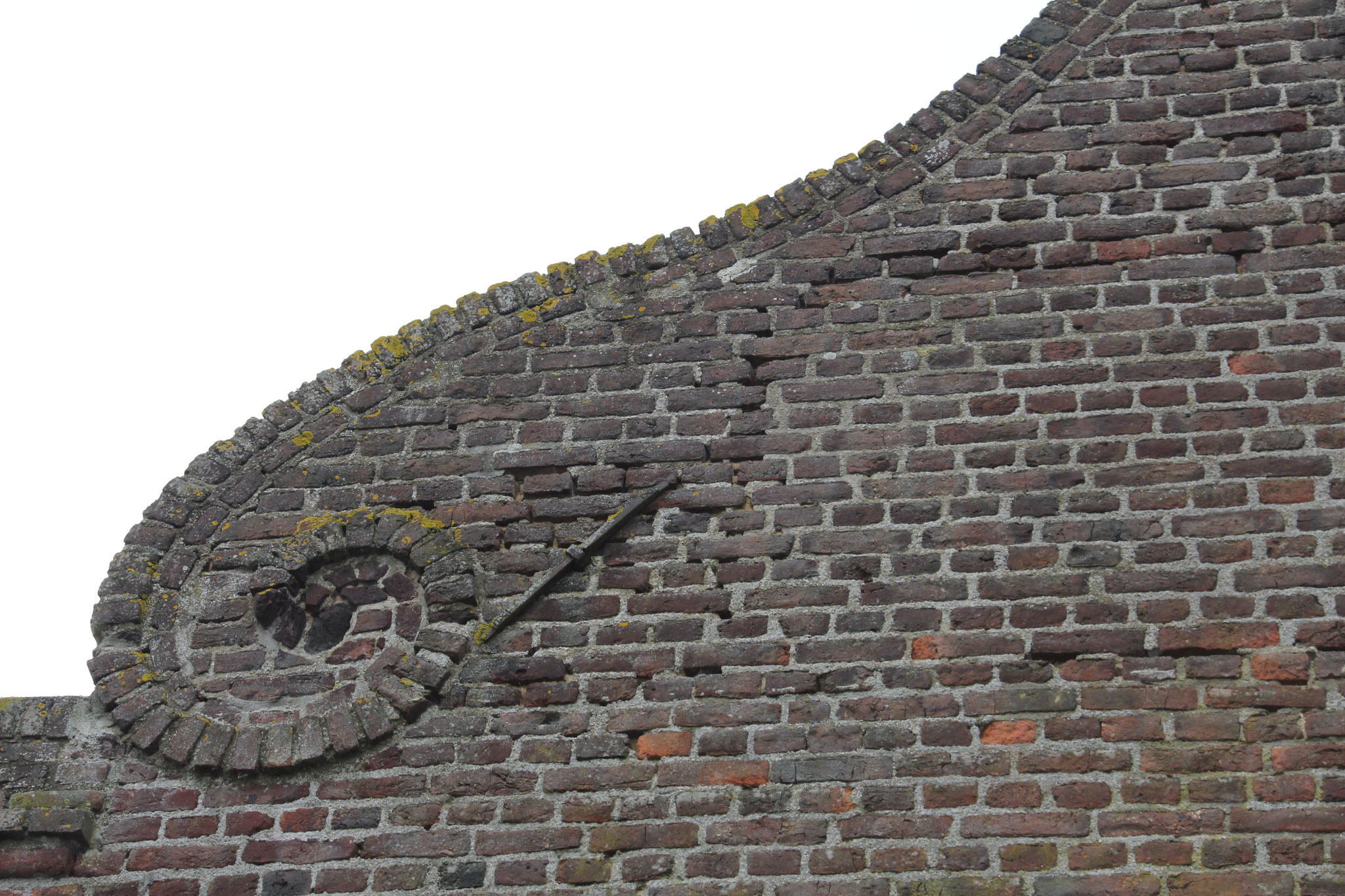 Detail van de westelijke krulgevel.