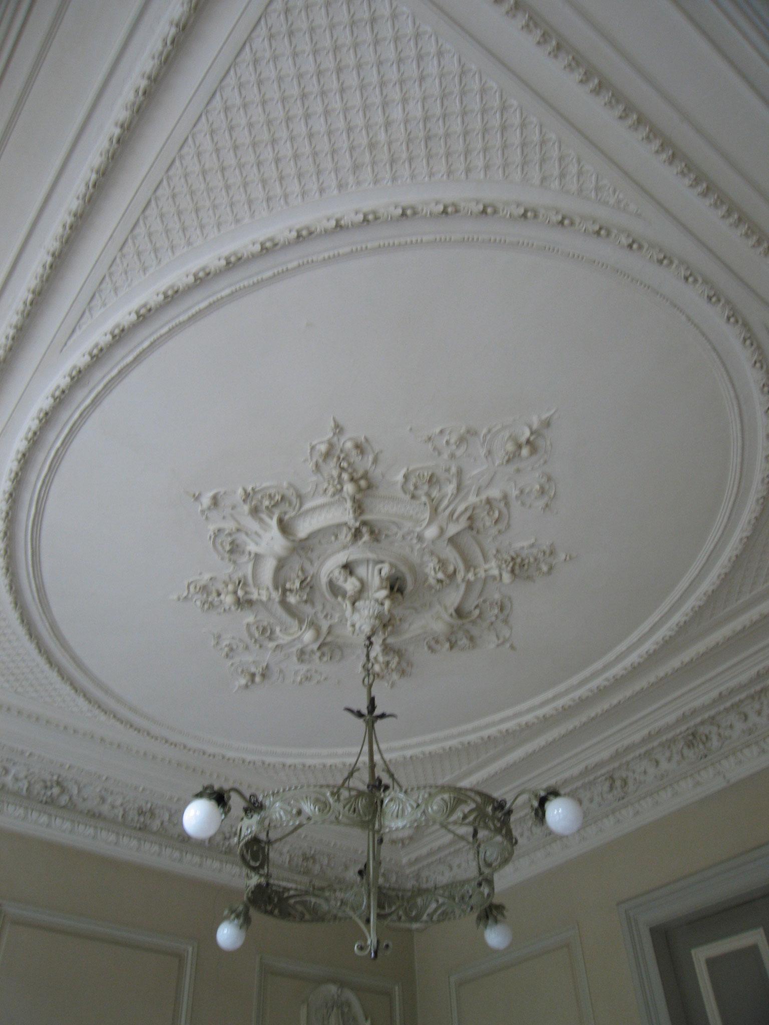 Detail van de salon: bijzonder rijk en verfijnd plafond.