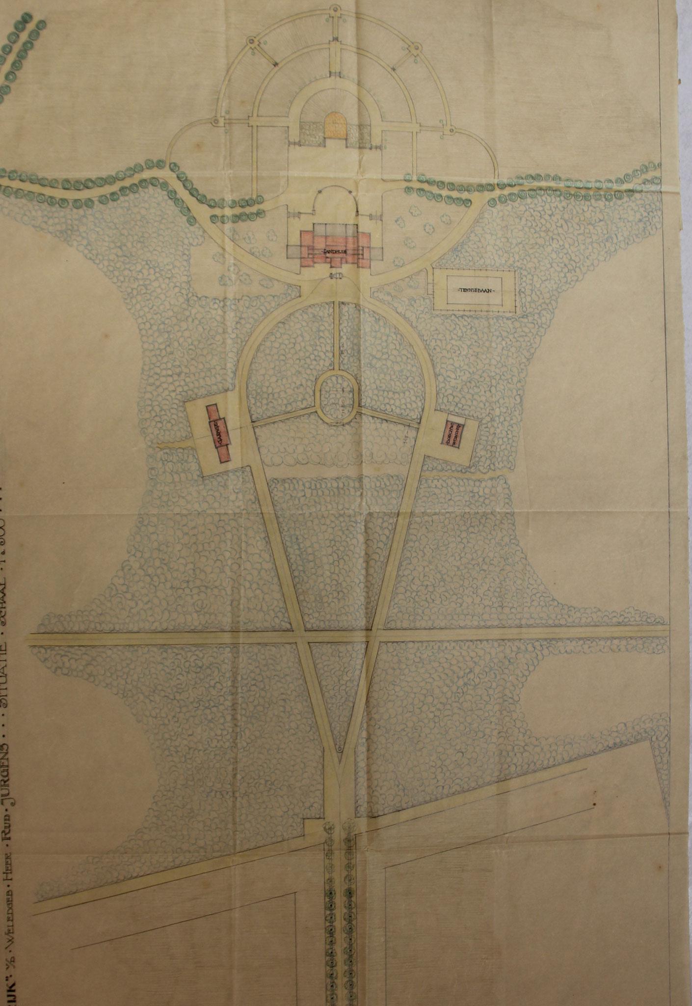 Ontwerp voor de bebouwing, bestaande uit hoofdhuis, bijgebouwen en druppelvormige laan, Charles Estourgie (Het Archief Nijmegen)
